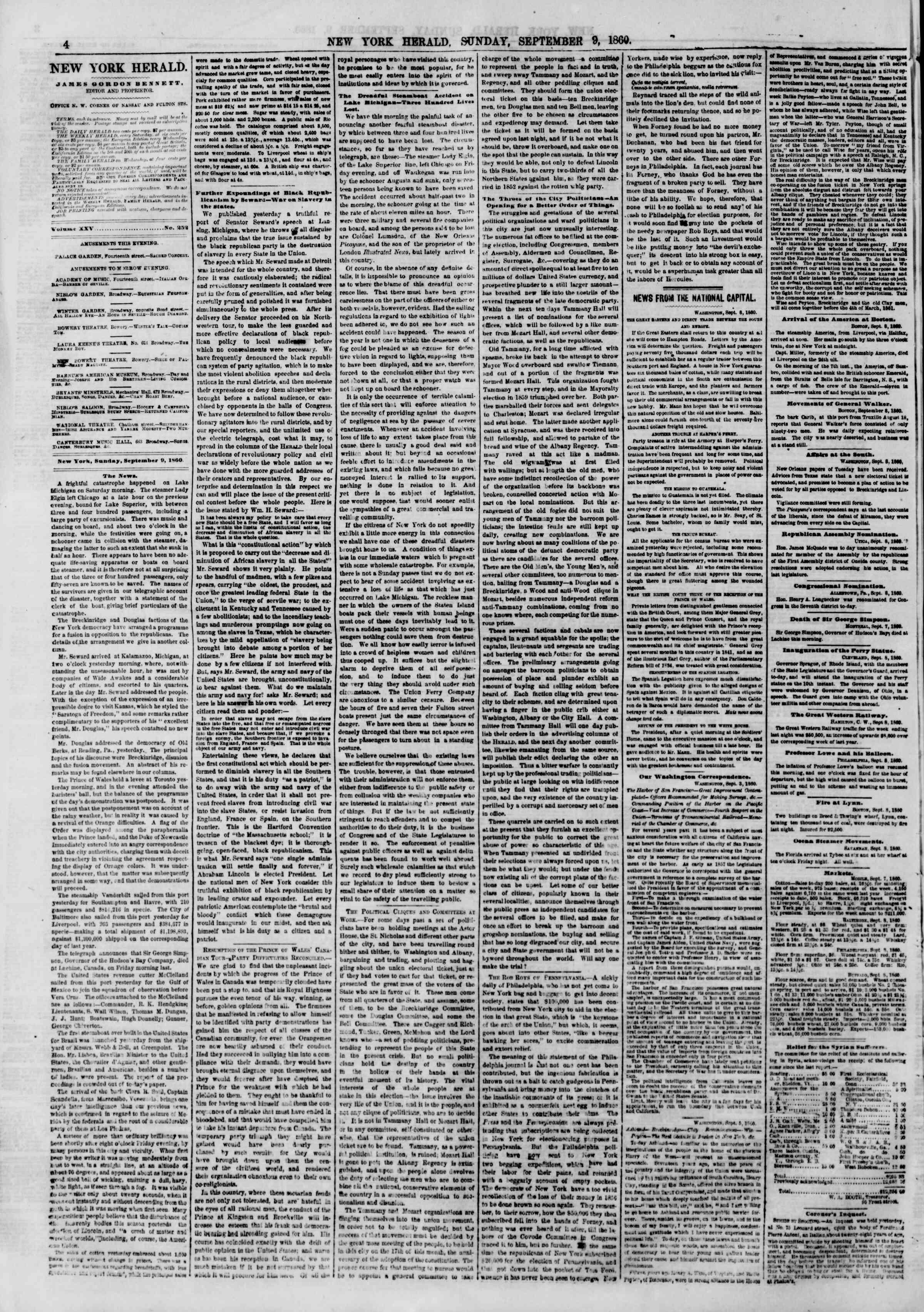 9 Eylül 1860 tarihli The New York Herald Gazetesi Sayfa 4