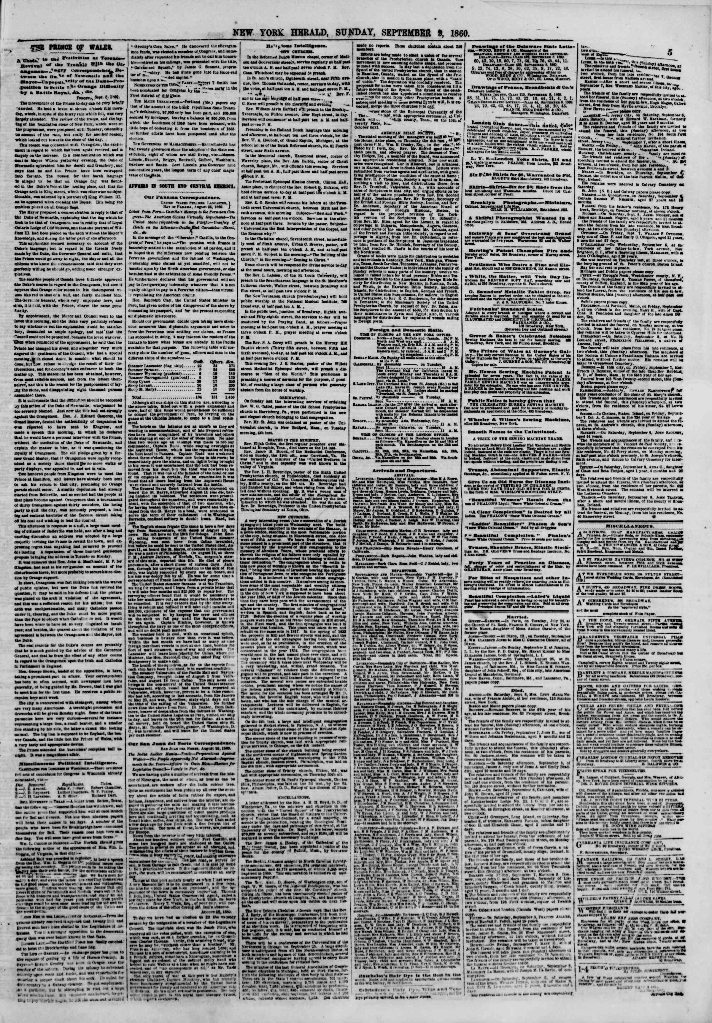 Newspaper of The New York Herald dated September 9, 1860 Page 5