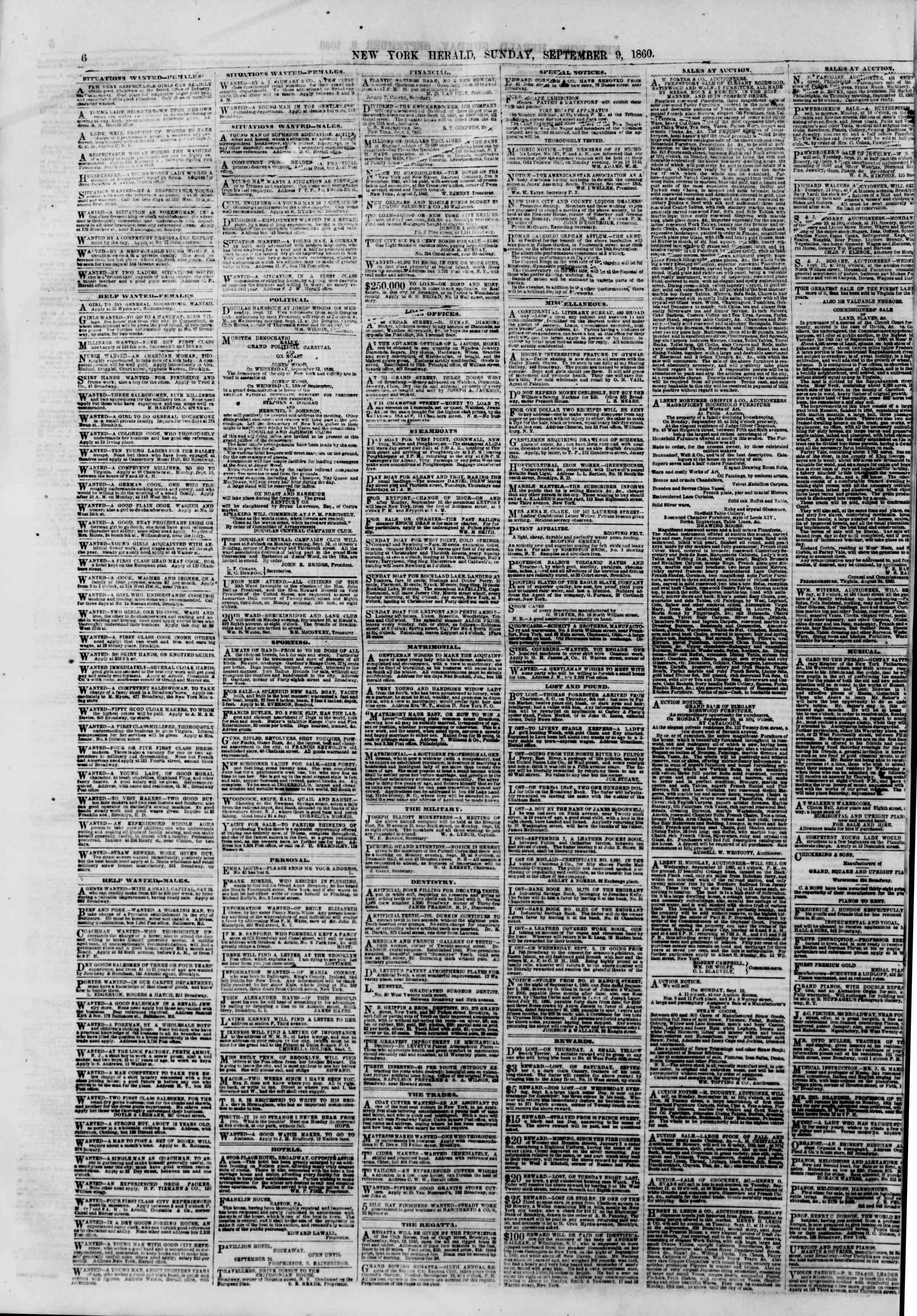 Newspaper of The New York Herald dated September 9, 1860 Page 6