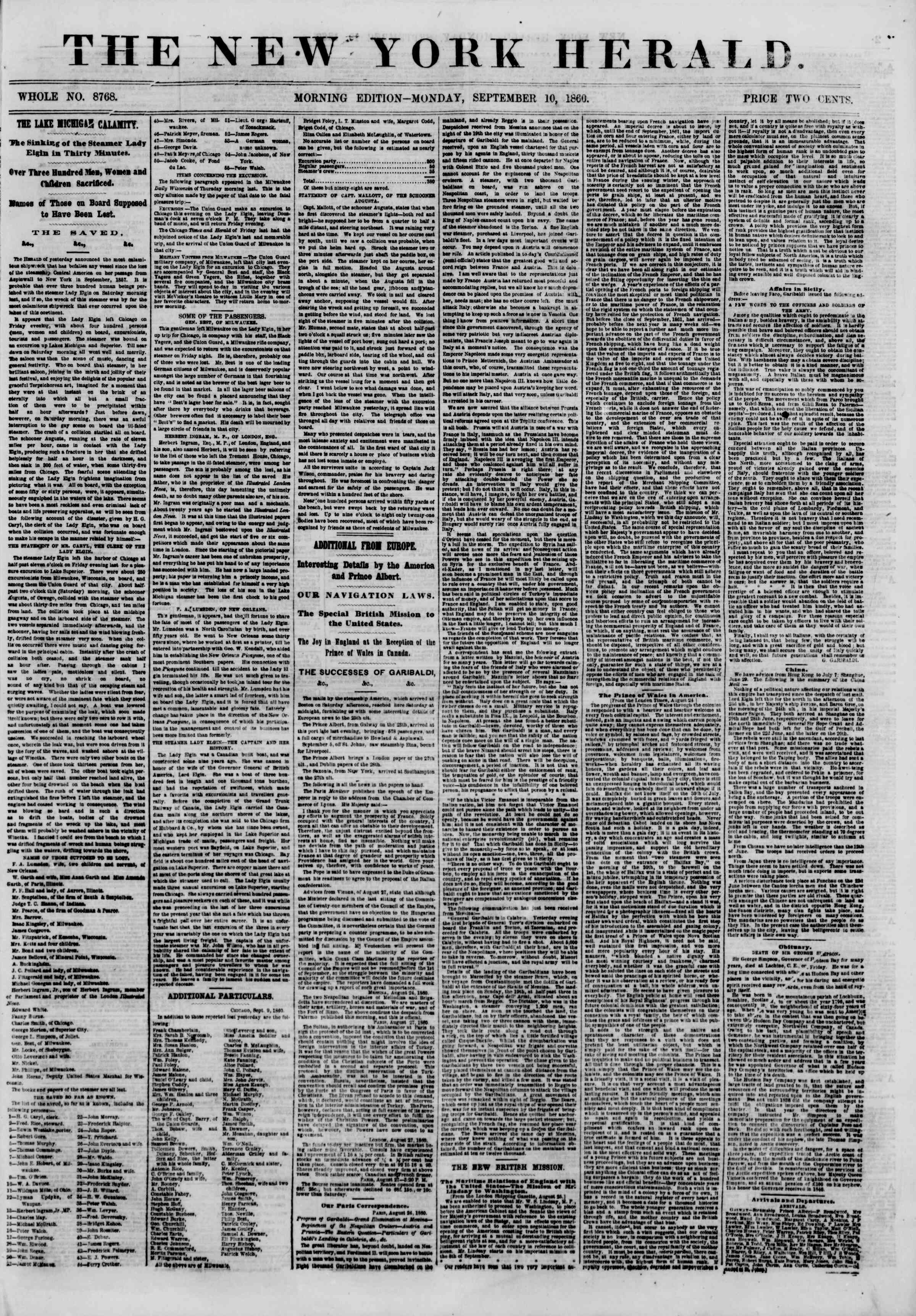 Newspaper of The New York Herald dated September 10, 1860 Page 1