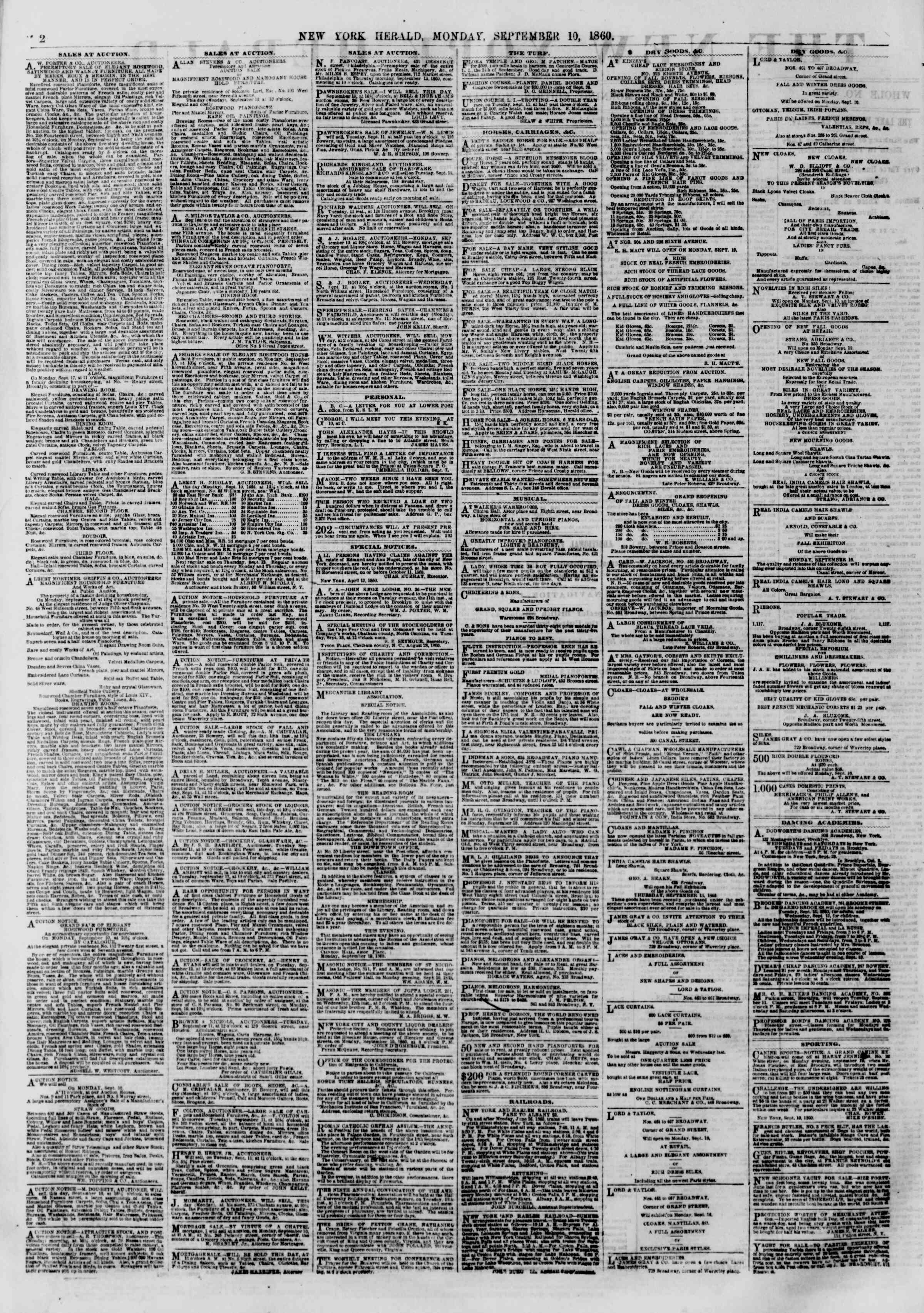 Newspaper of The New York Herald dated September 10, 1860 Page 2