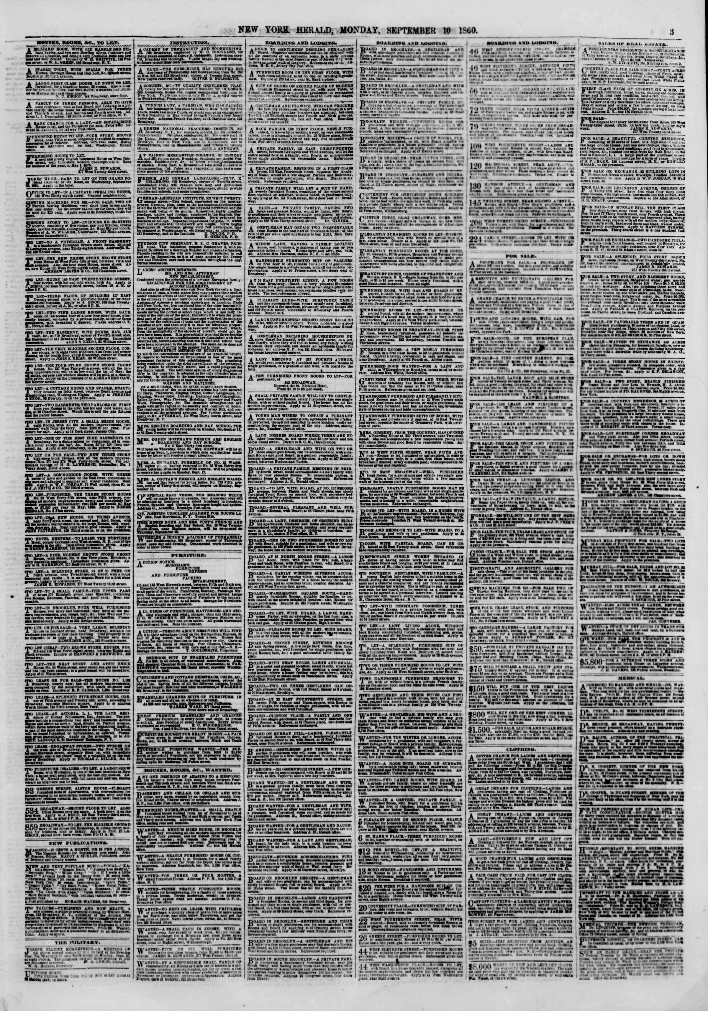 Newspaper of The New York Herald dated September 10, 1860 Page 3