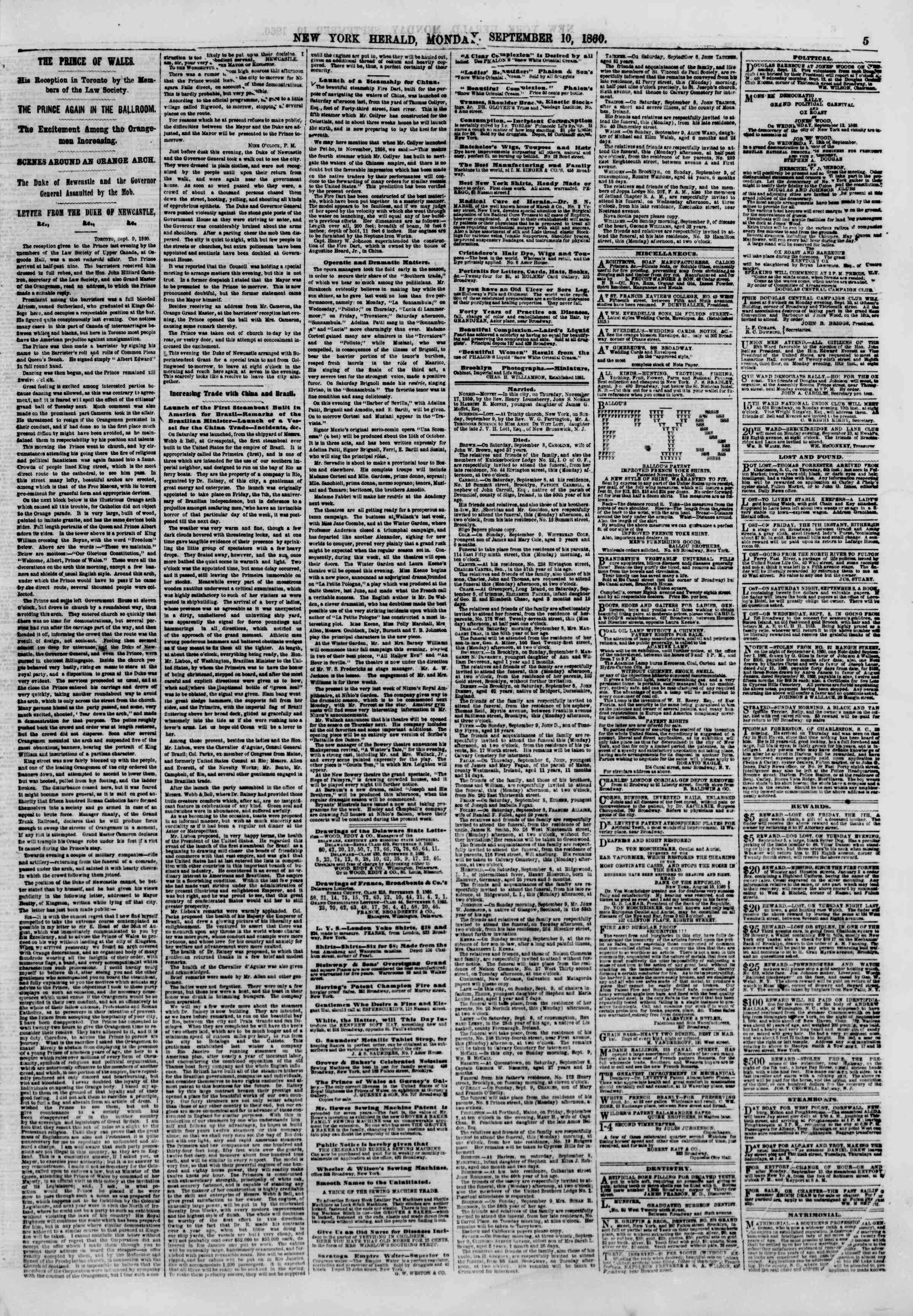 10 Eylül 1860 tarihli The New York Herald Gazetesi Sayfa 5
