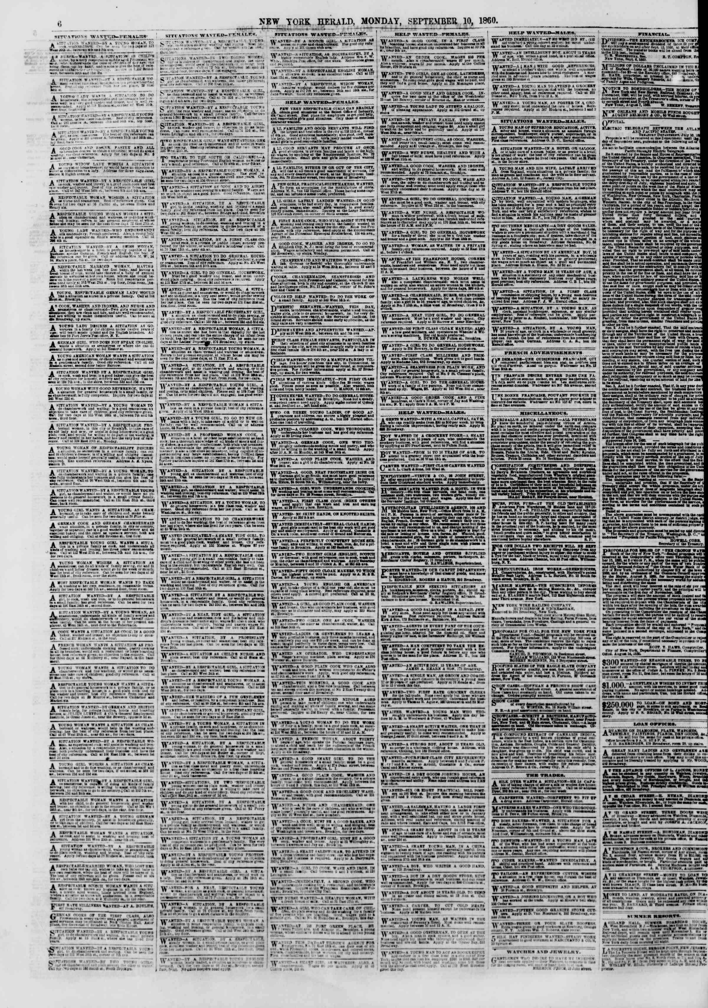Newspaper of The New York Herald dated September 10, 1860 Page 6