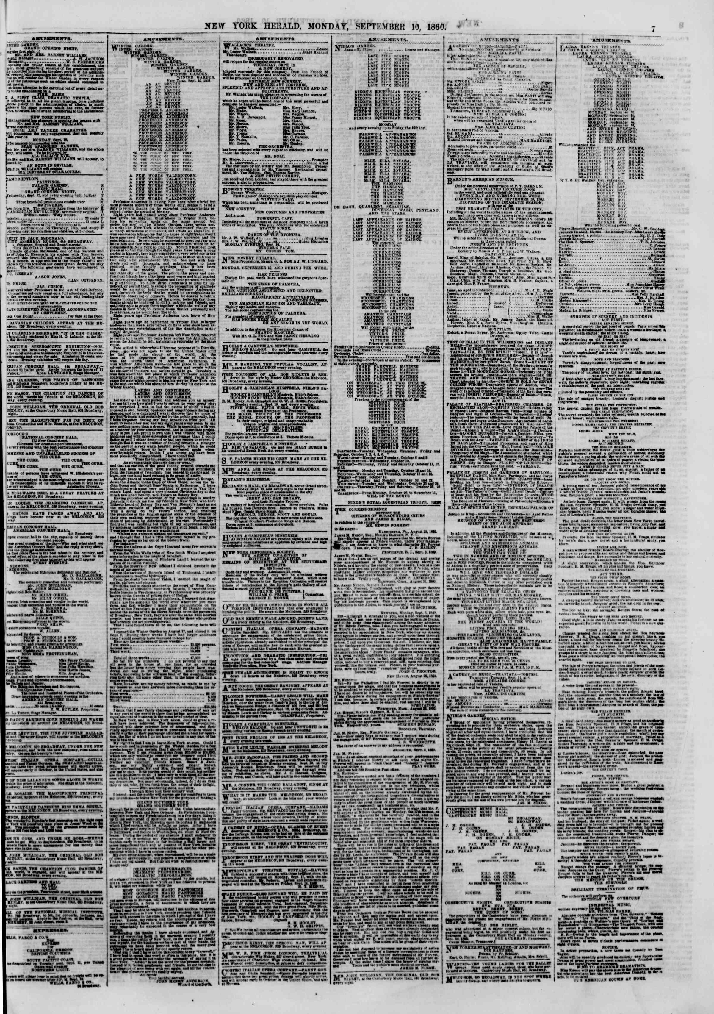 September 10, 1860 tarihli The New York Herald Gazetesi Sayfa 7