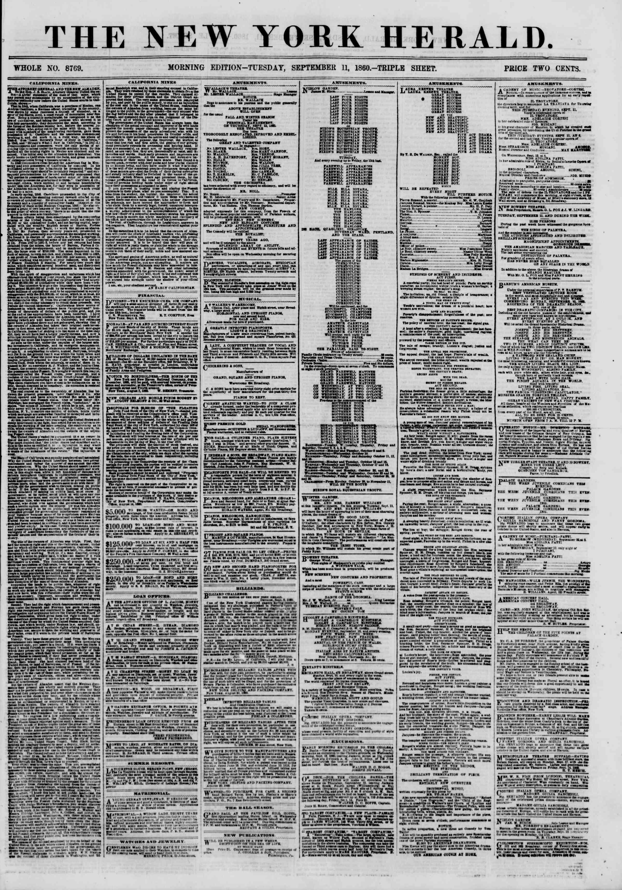 Newspaper of The New York Herald dated September 11, 1860 Page 1