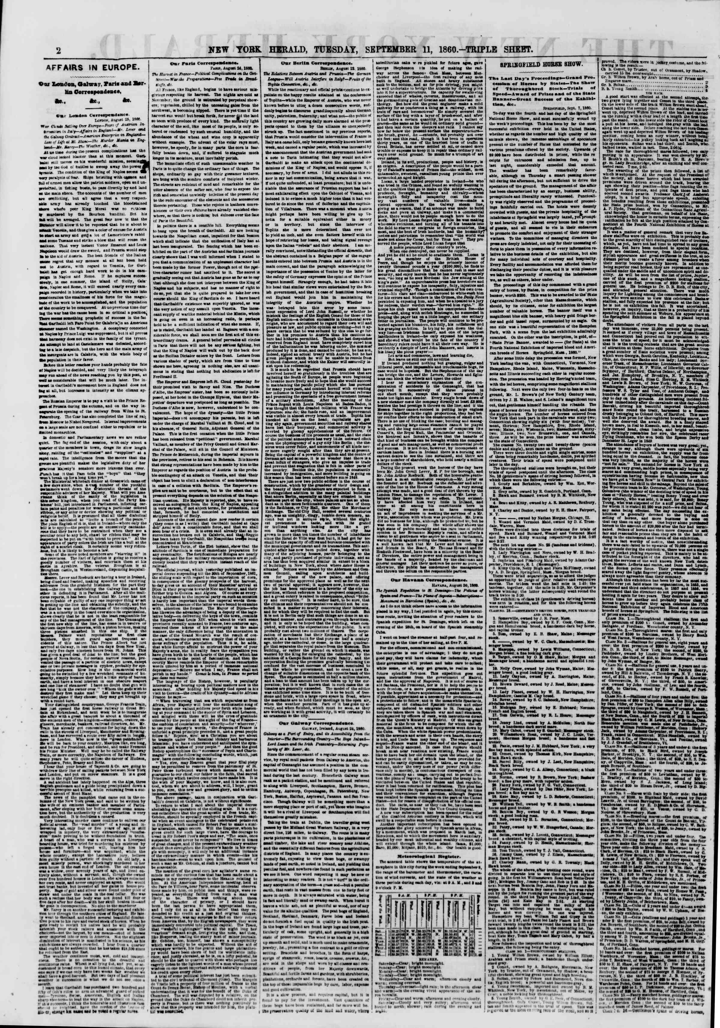 Newspaper of The New York Herald dated September 11, 1860 Page 2