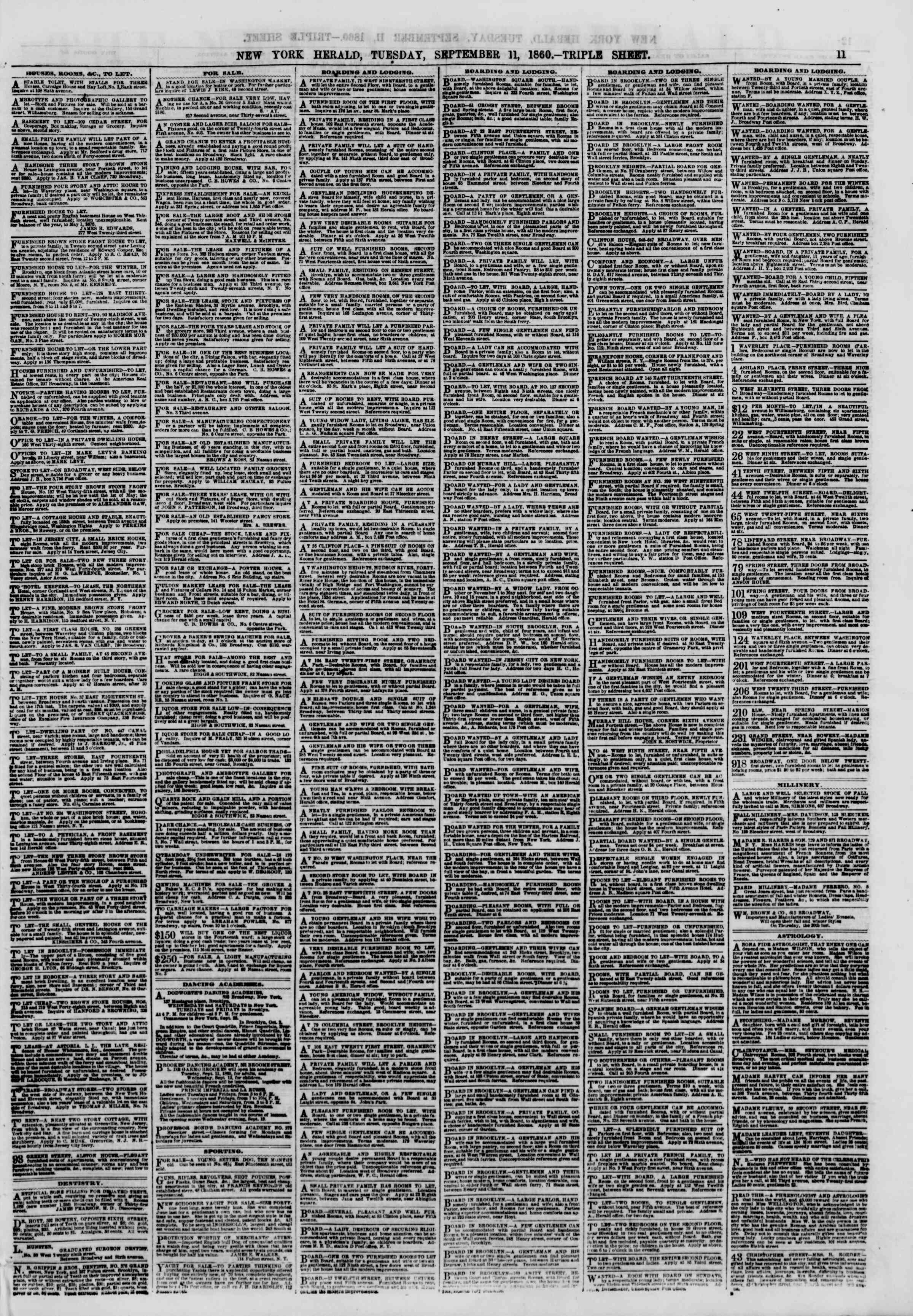 Newspaper of The New York Herald dated September 11, 1860 Page 11