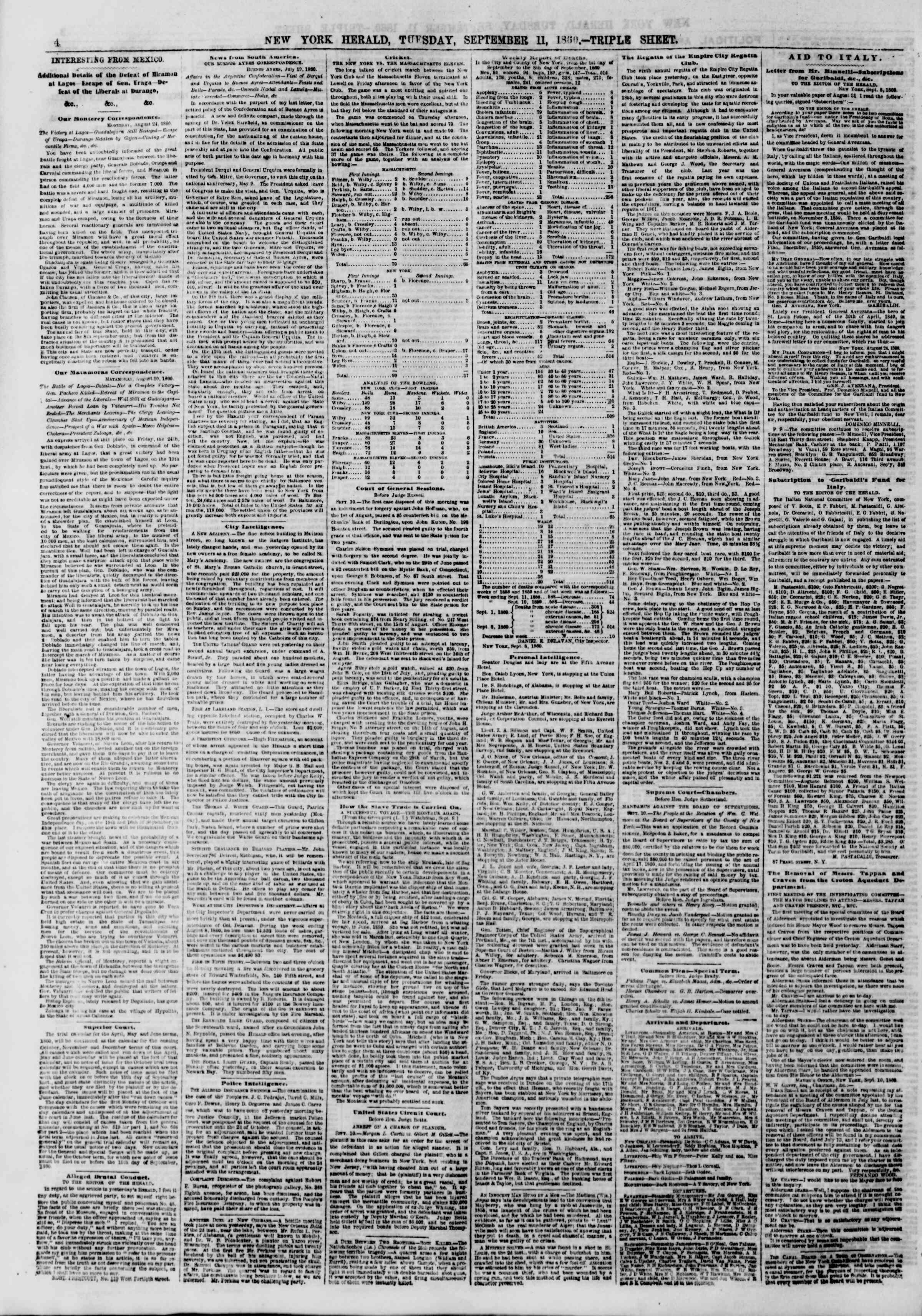 Newspaper of The New York Herald dated September 11, 1860 Page 4