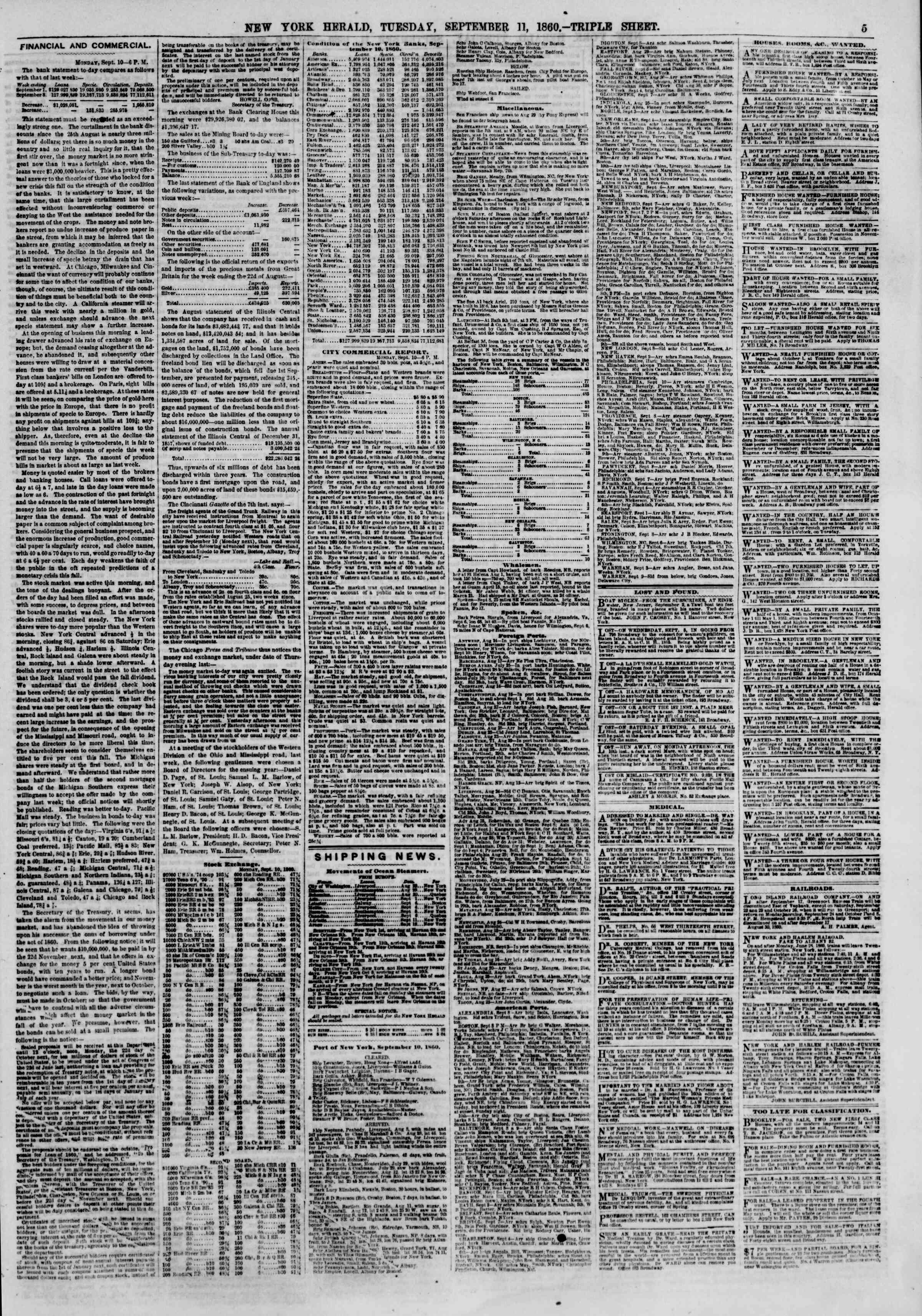 Newspaper of The New York Herald dated September 11, 1860 Page 5
