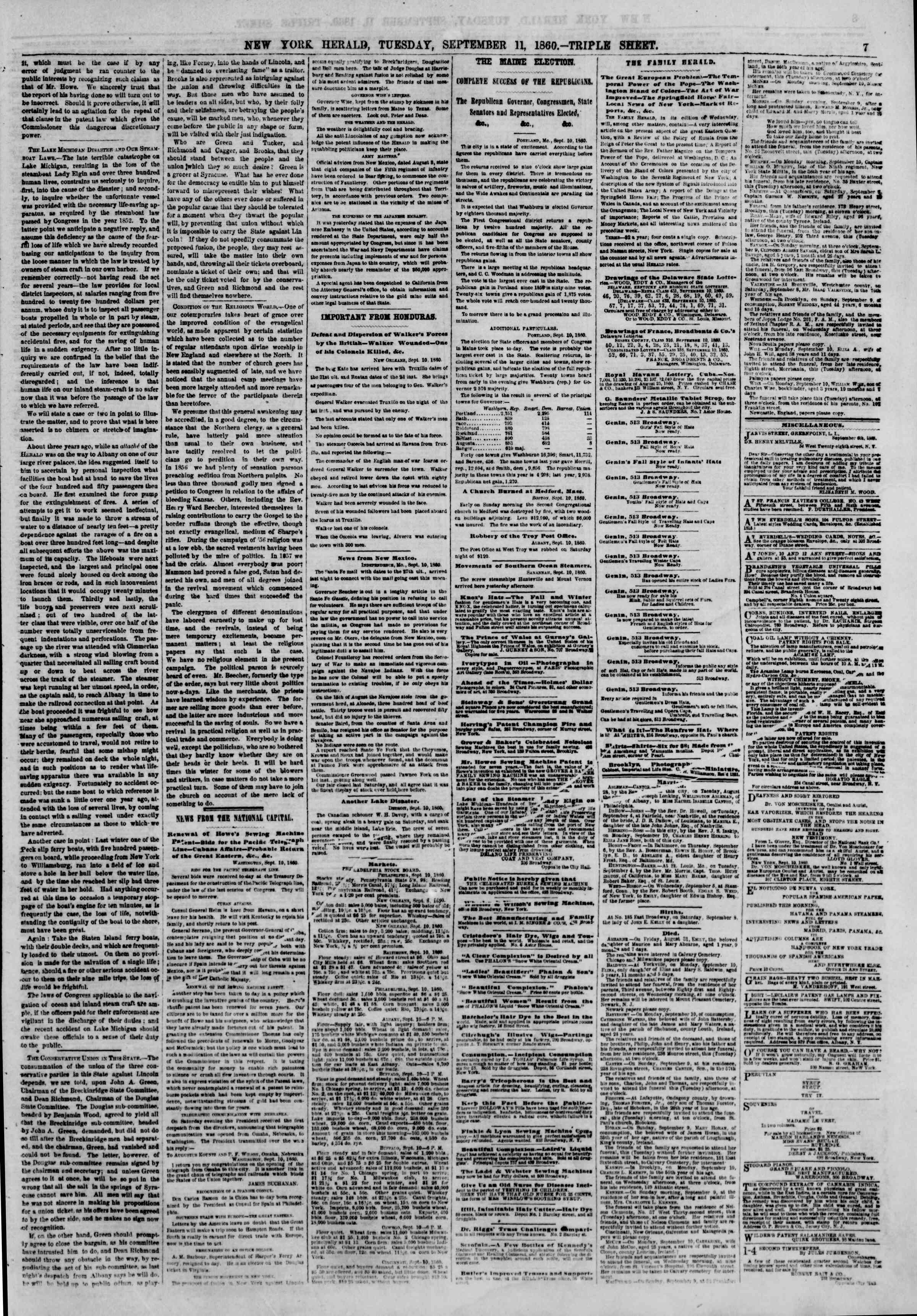Newspaper of The New York Herald dated September 11, 1860 Page 7