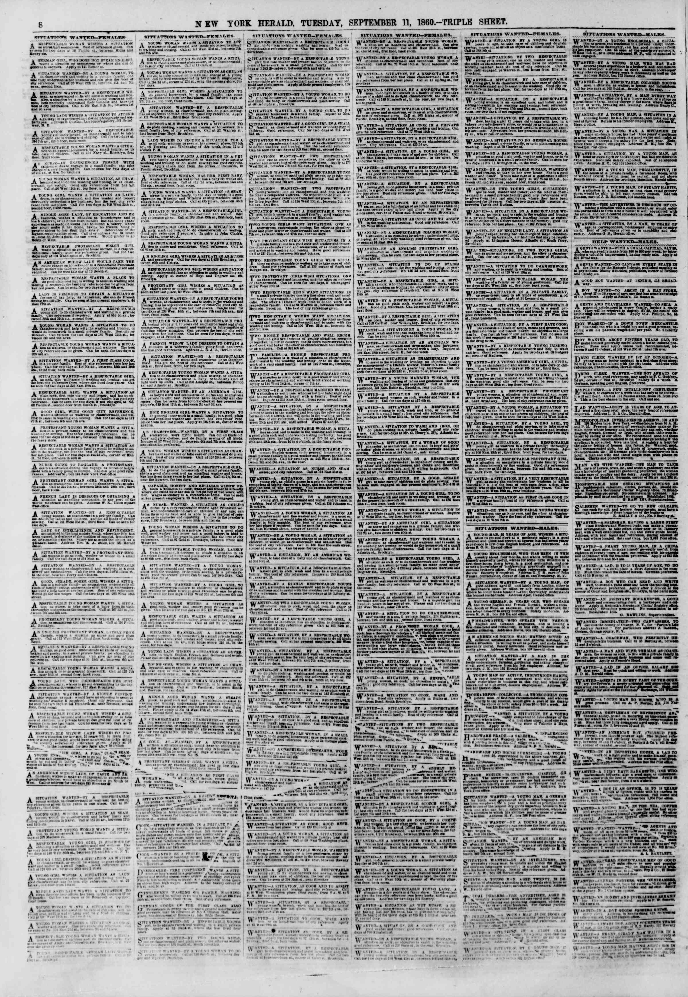 Newspaper of The New York Herald dated September 11, 1860 Page 8