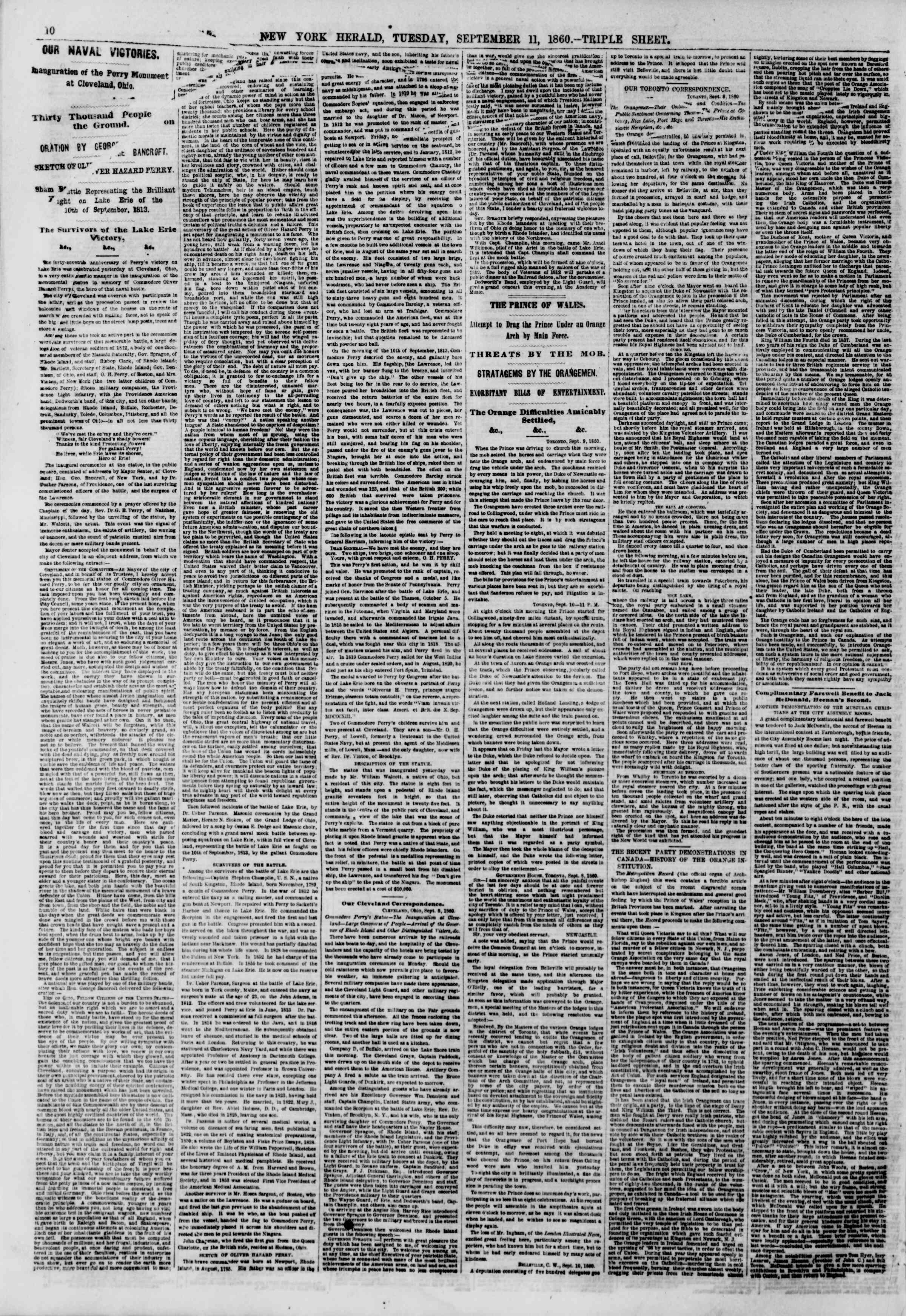 Newspaper of The New York Herald dated September 11, 1860 Page 10