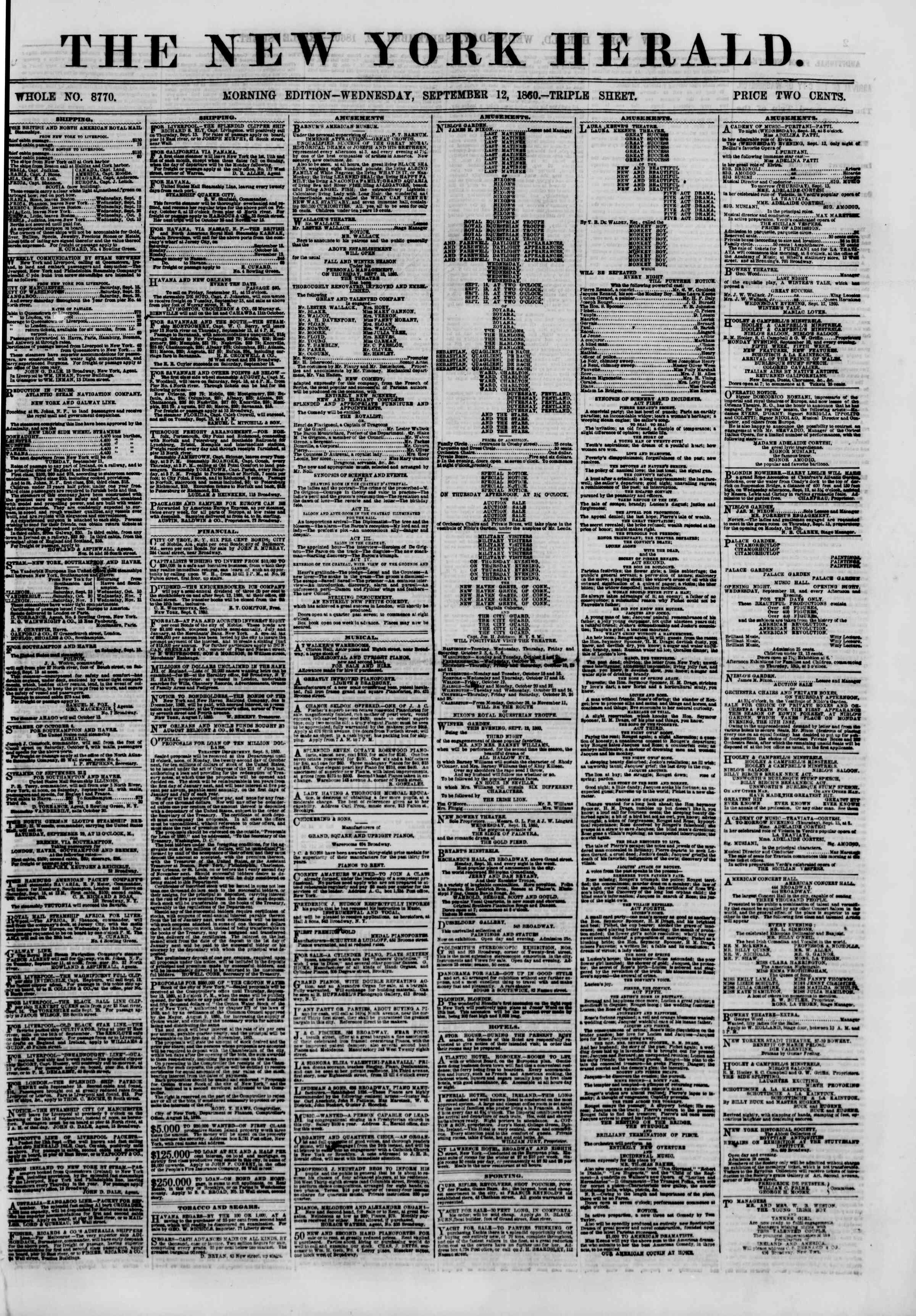 Newspaper of The New York Herald dated September 12, 1860 Page 1