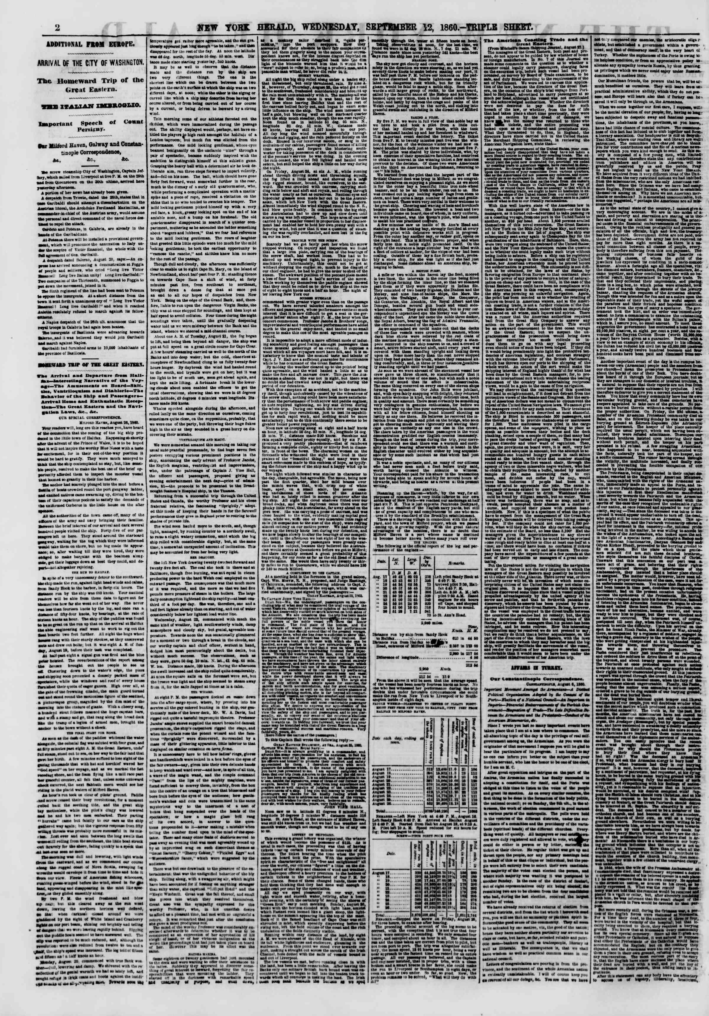 12 Eylül 1860 tarihli The New York Herald Gazetesi Sayfa 2