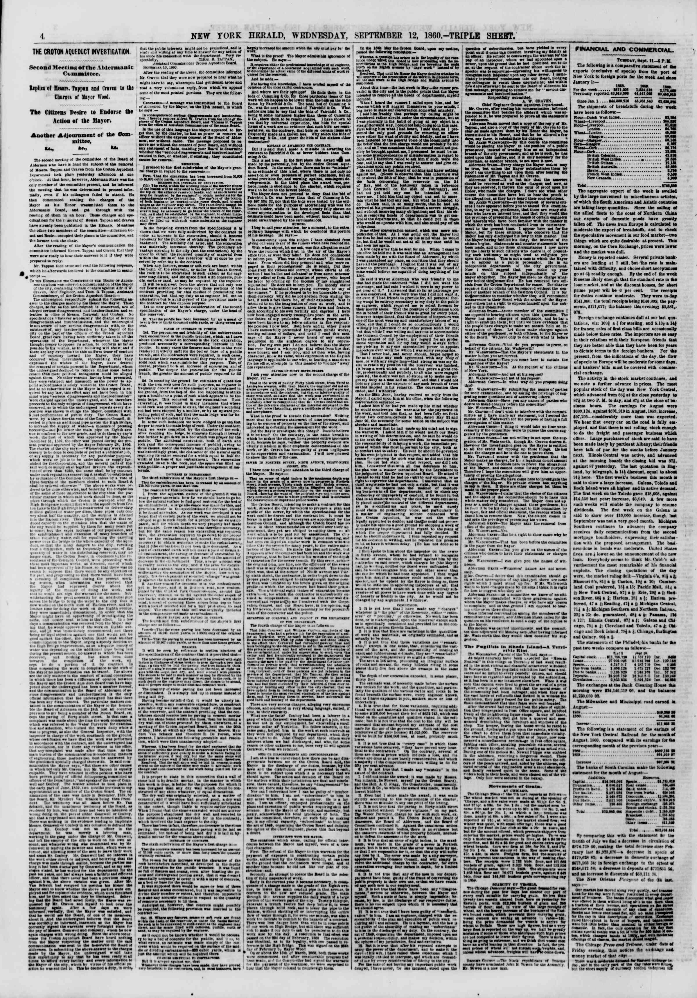 Newspaper of The New York Herald dated September 12, 1860 Page 4