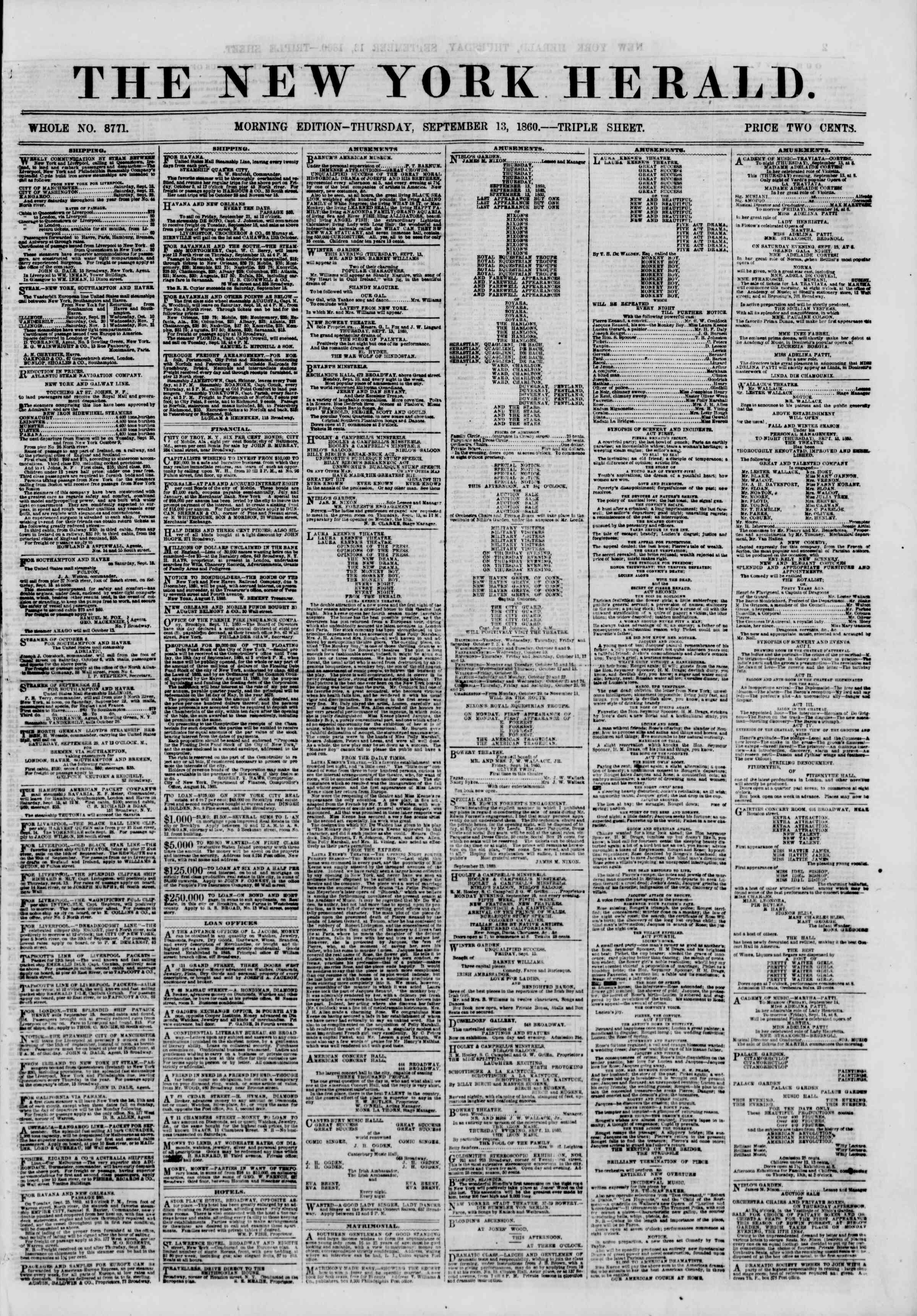 Newspaper of The New York Herald dated September 13, 1860 Page 1