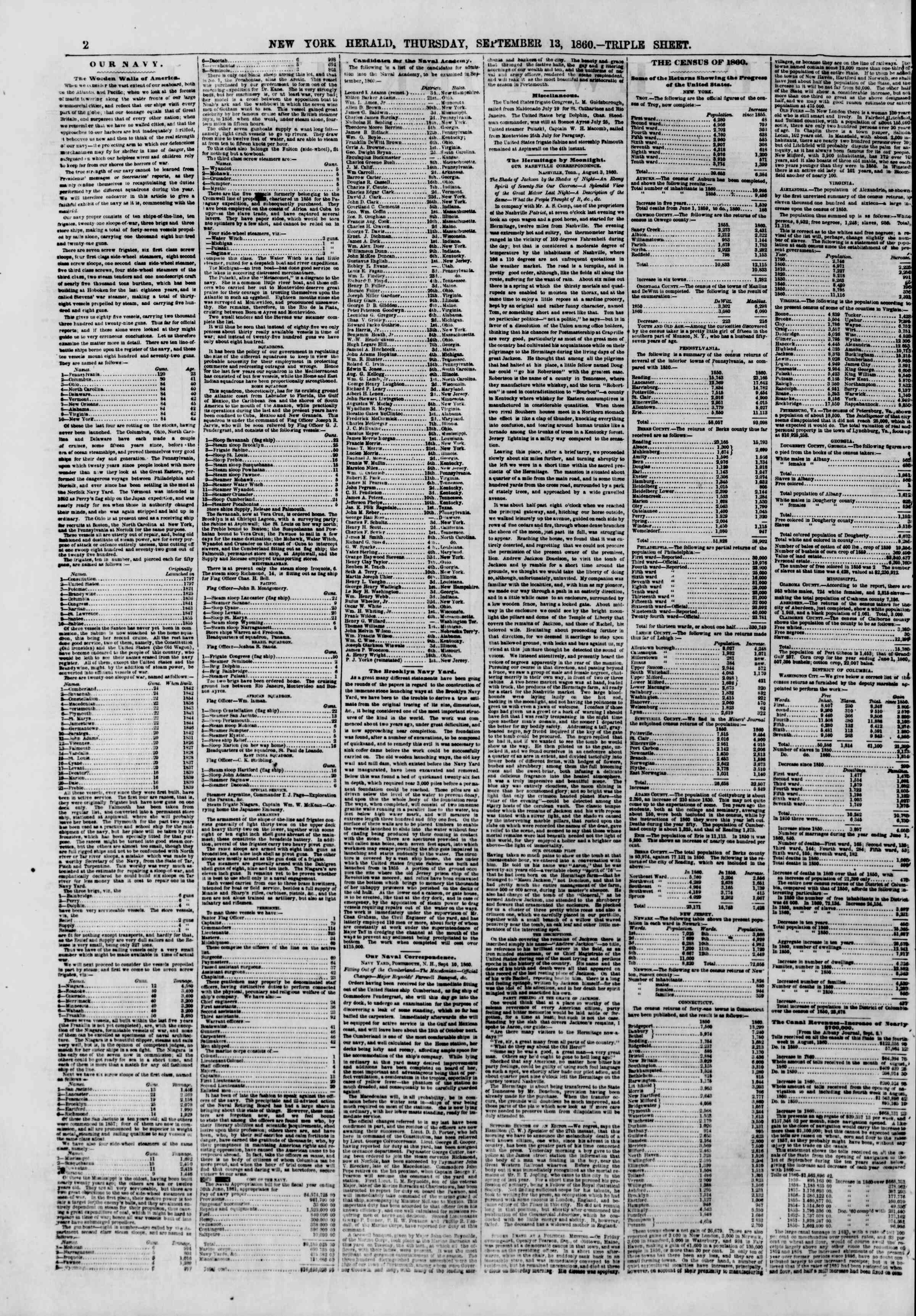 Newspaper of The New York Herald dated September 13, 1860 Page 2