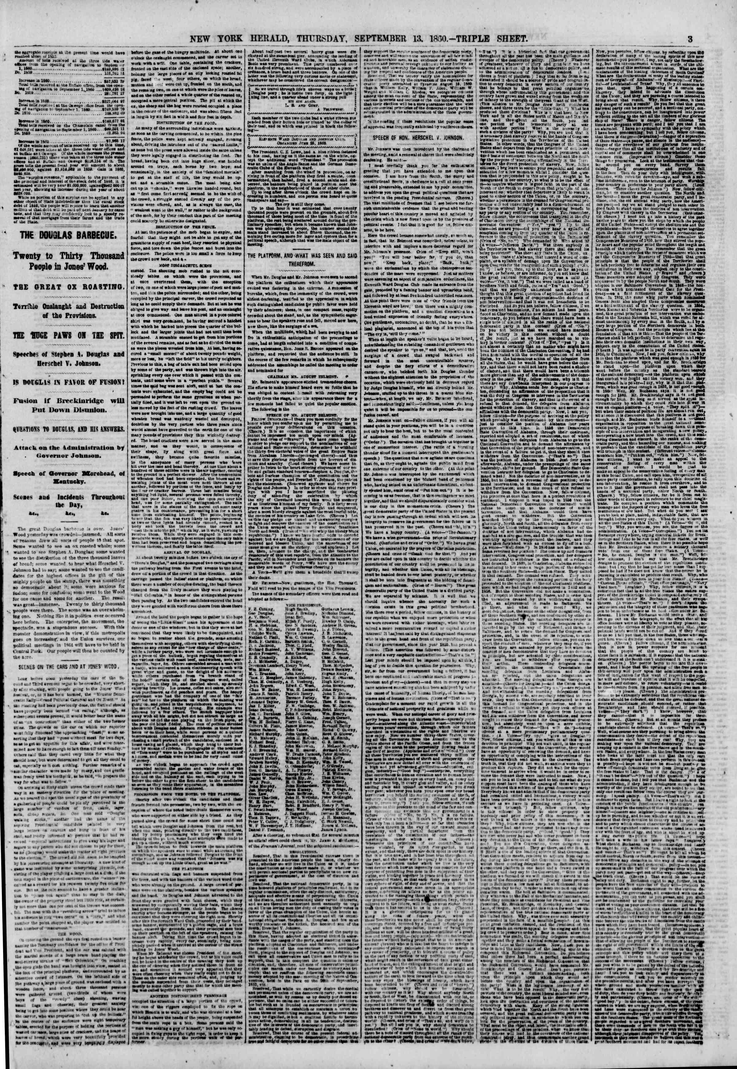Newspaper of The New York Herald dated September 13, 1860 Page 3