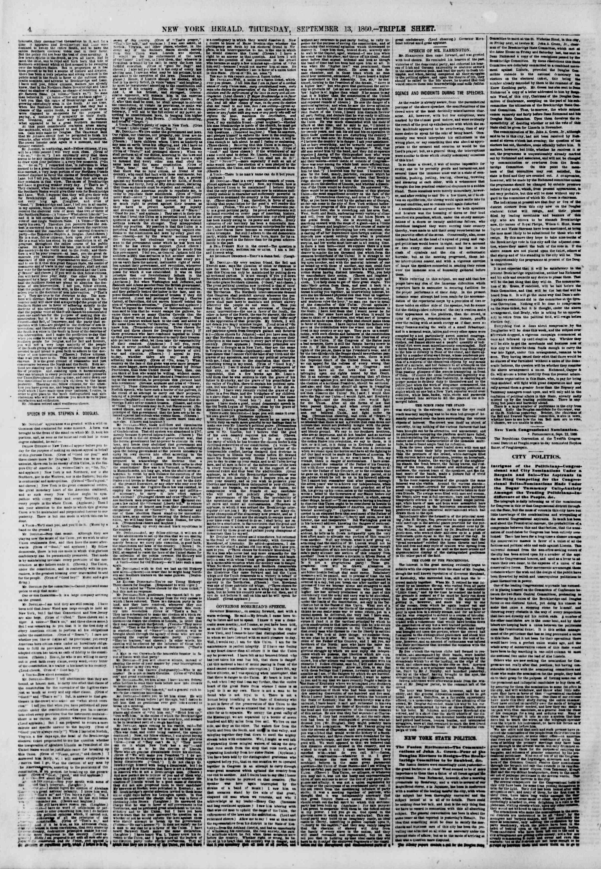 Newspaper of The New York Herald dated September 13, 1860 Page 4