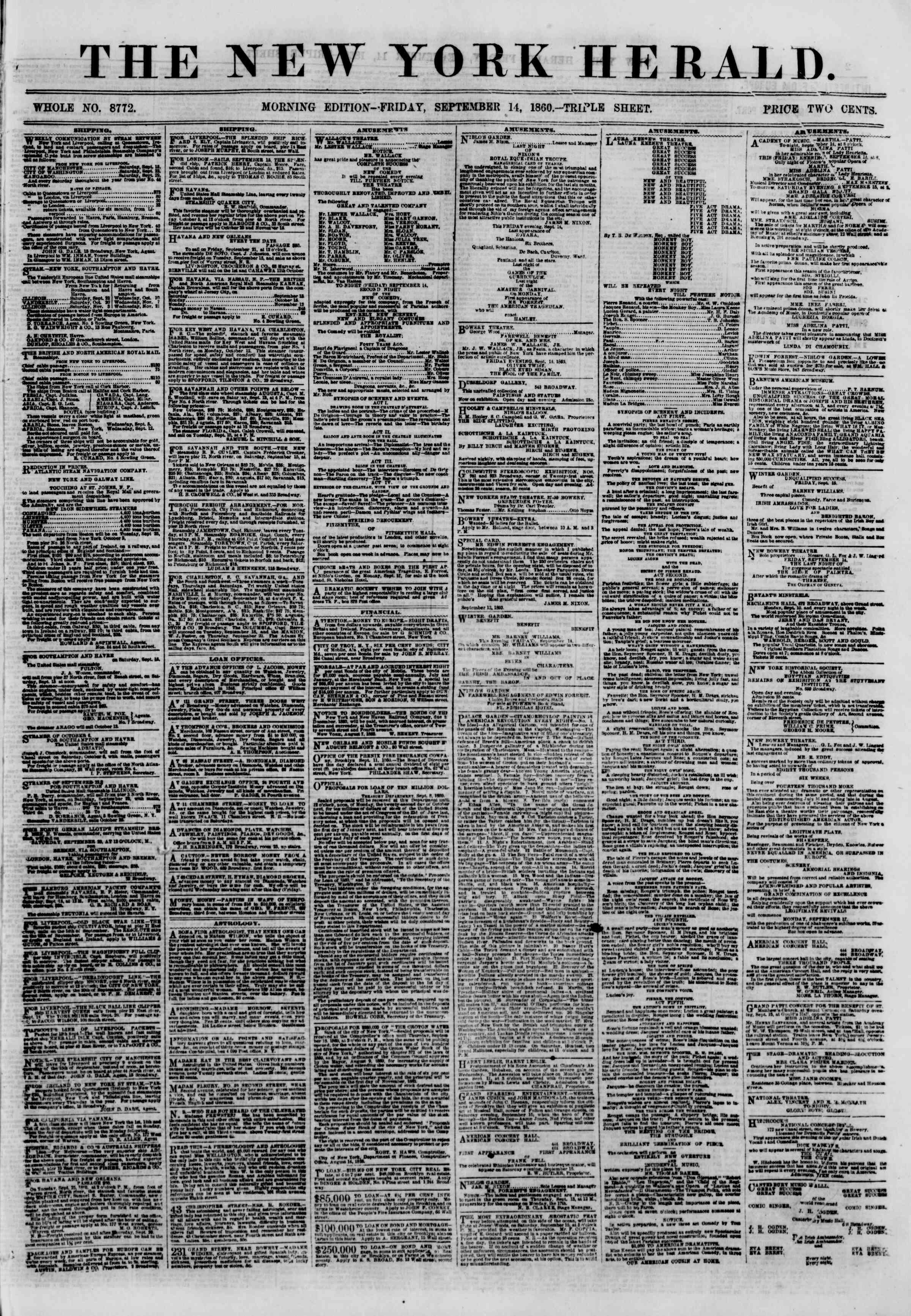 Newspaper of The New York Herald dated September 14, 1860 Page 1