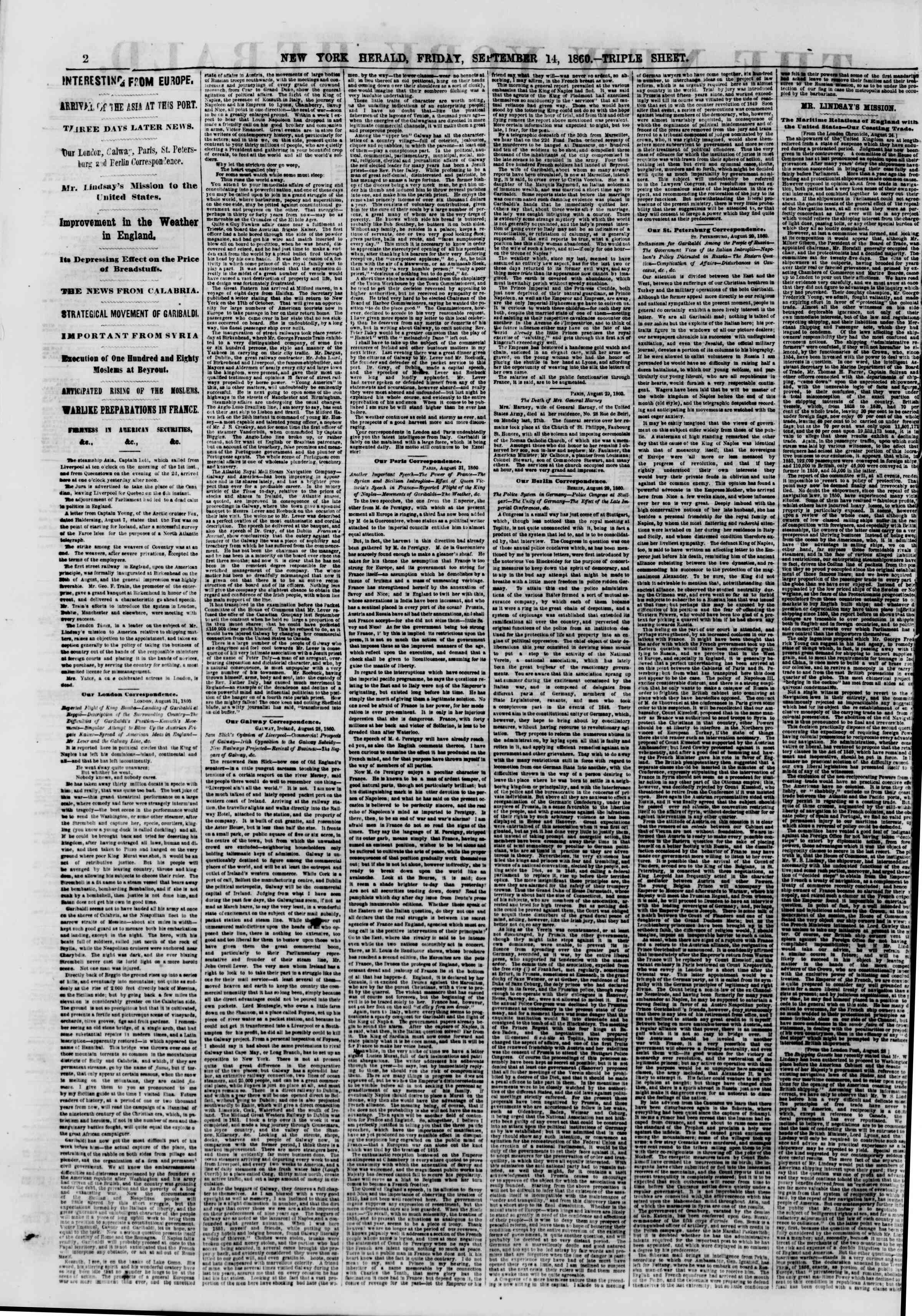 Newspaper of The New York Herald dated September 14, 1860 Page 2