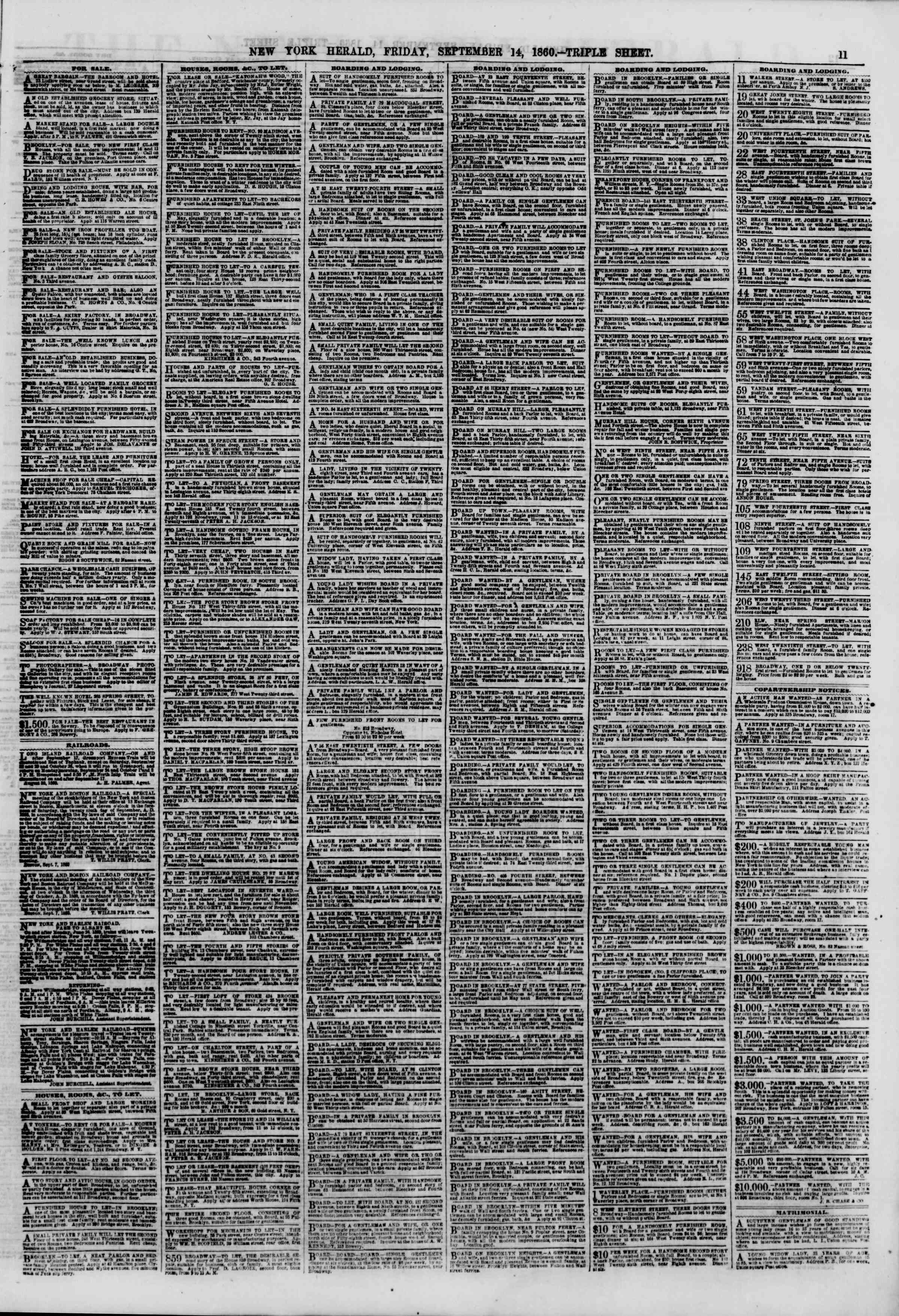 Newspaper of The New York Herald dated September 14, 1860 Page 11