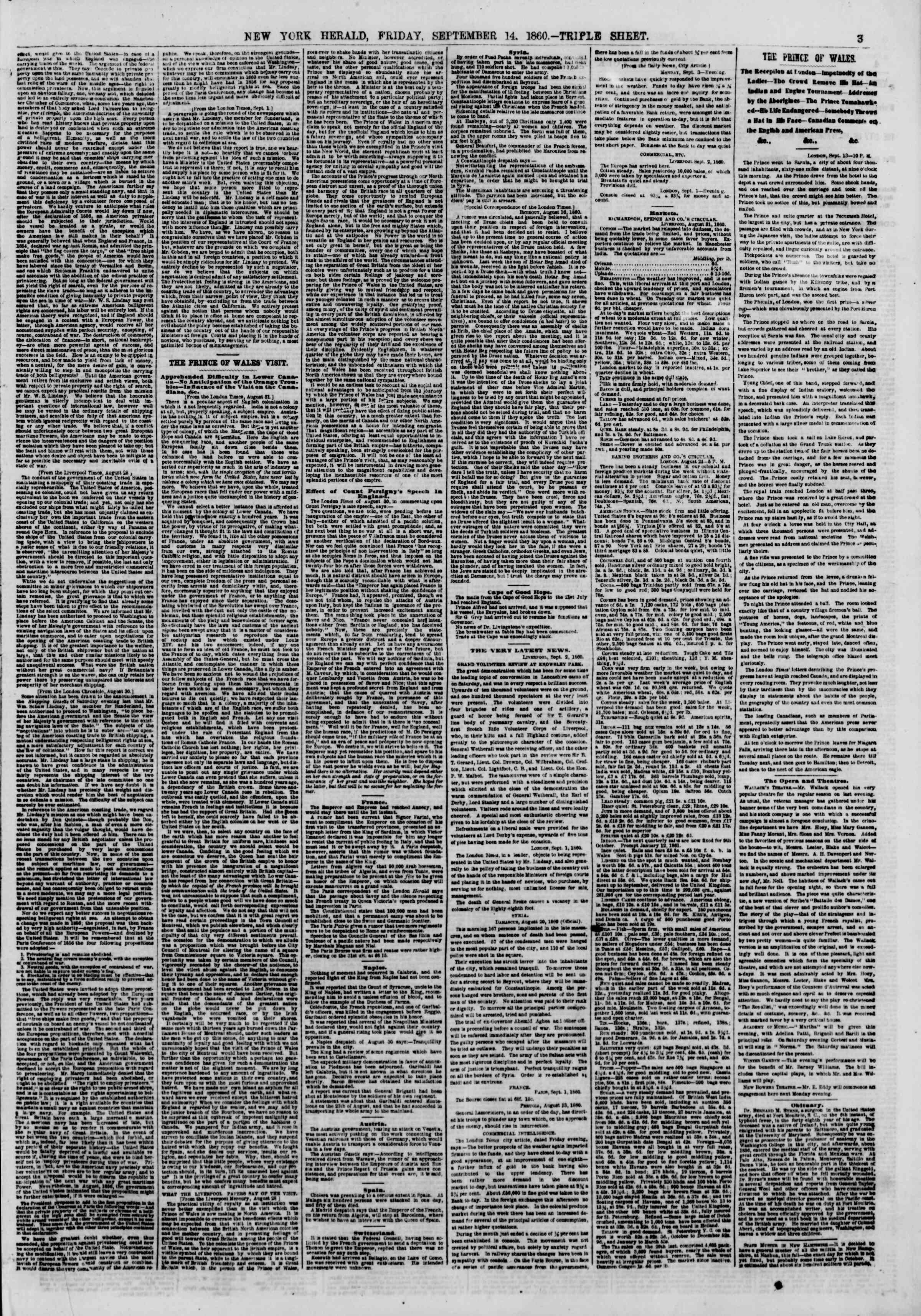 Newspaper of The New York Herald dated September 14, 1860 Page 3