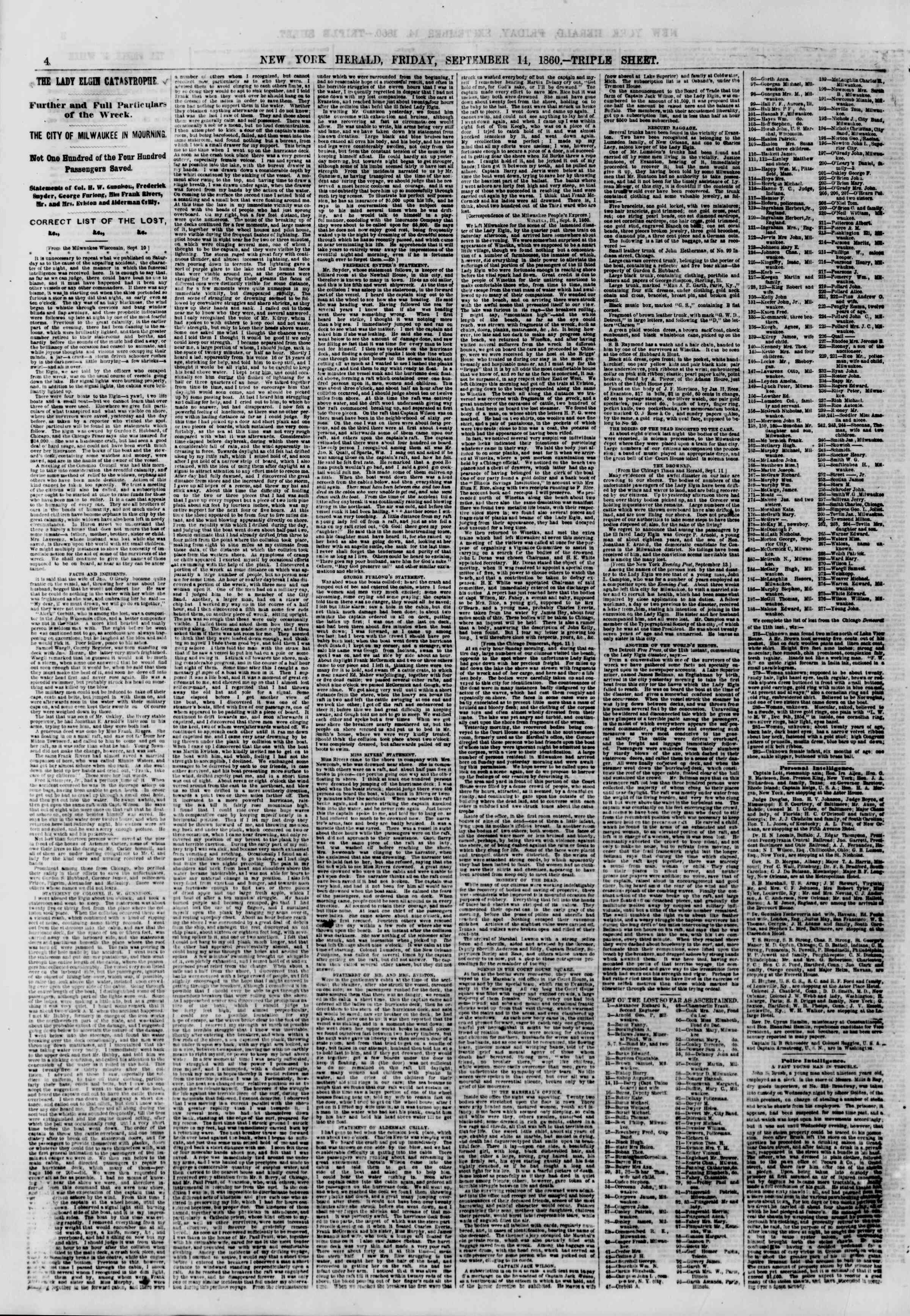 Newspaper of The New York Herald dated September 14, 1860 Page 4