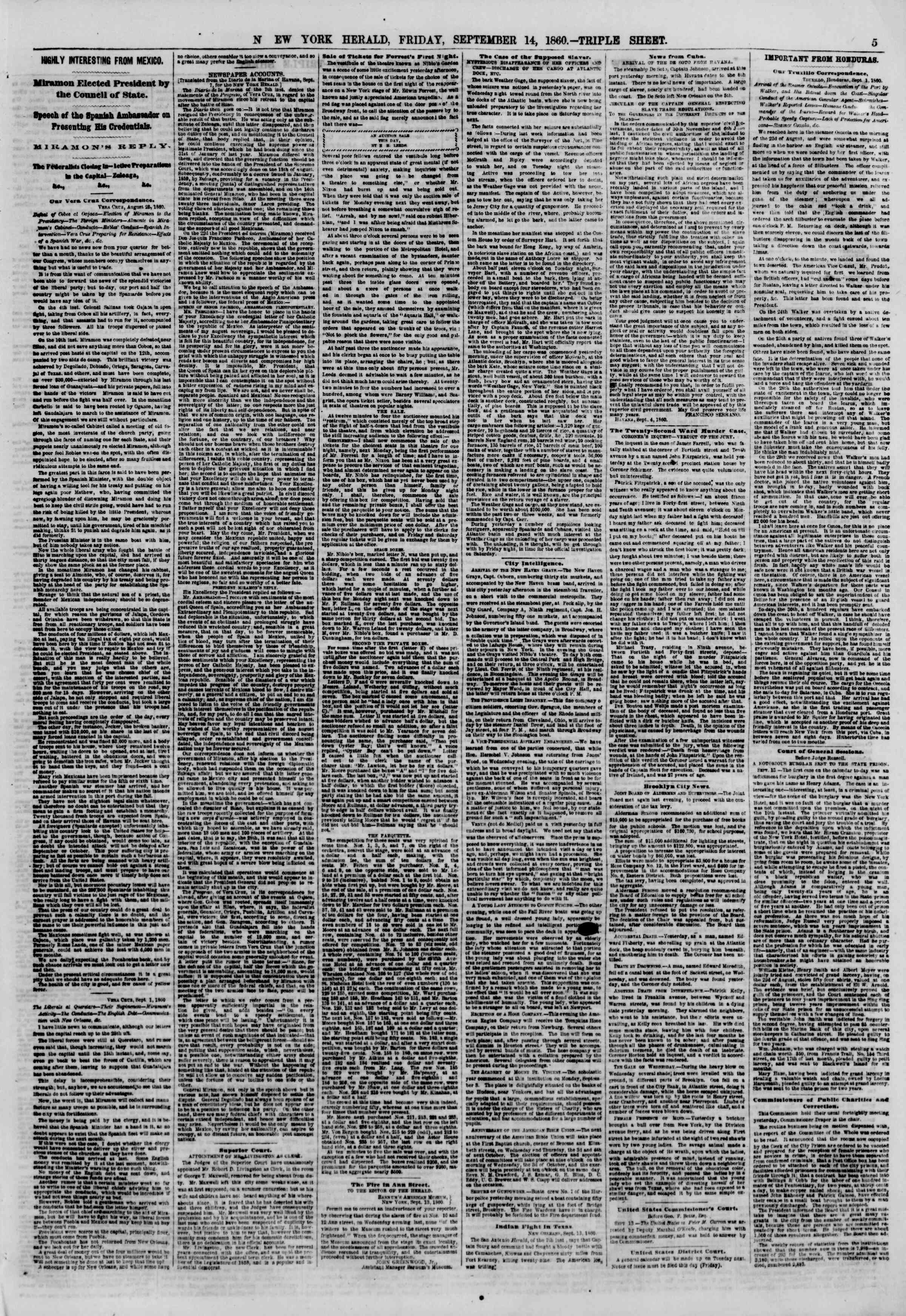 Newspaper of The New York Herald dated September 14, 1860 Page 5