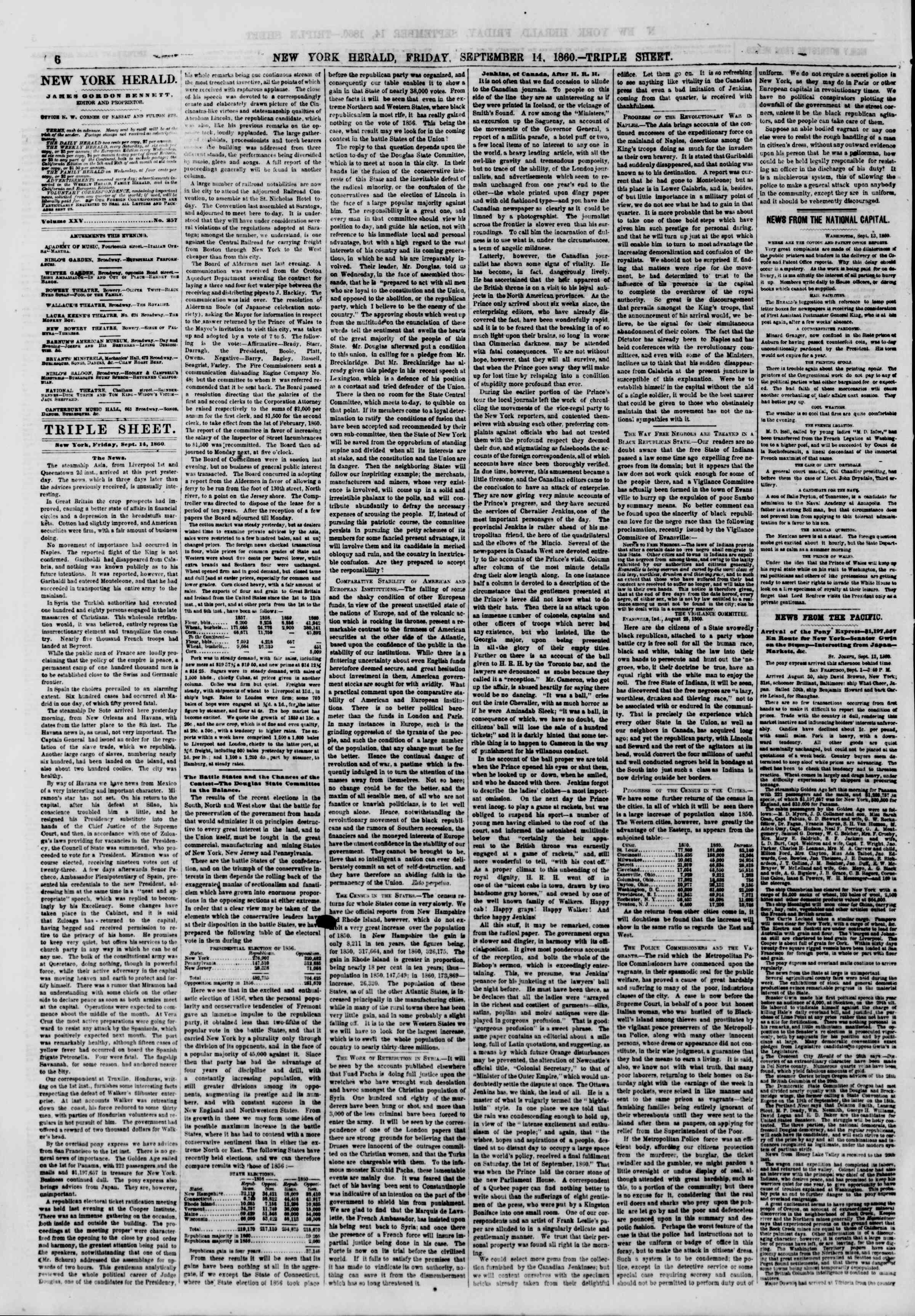 Newspaper of The New York Herald dated September 14, 1860 Page 6