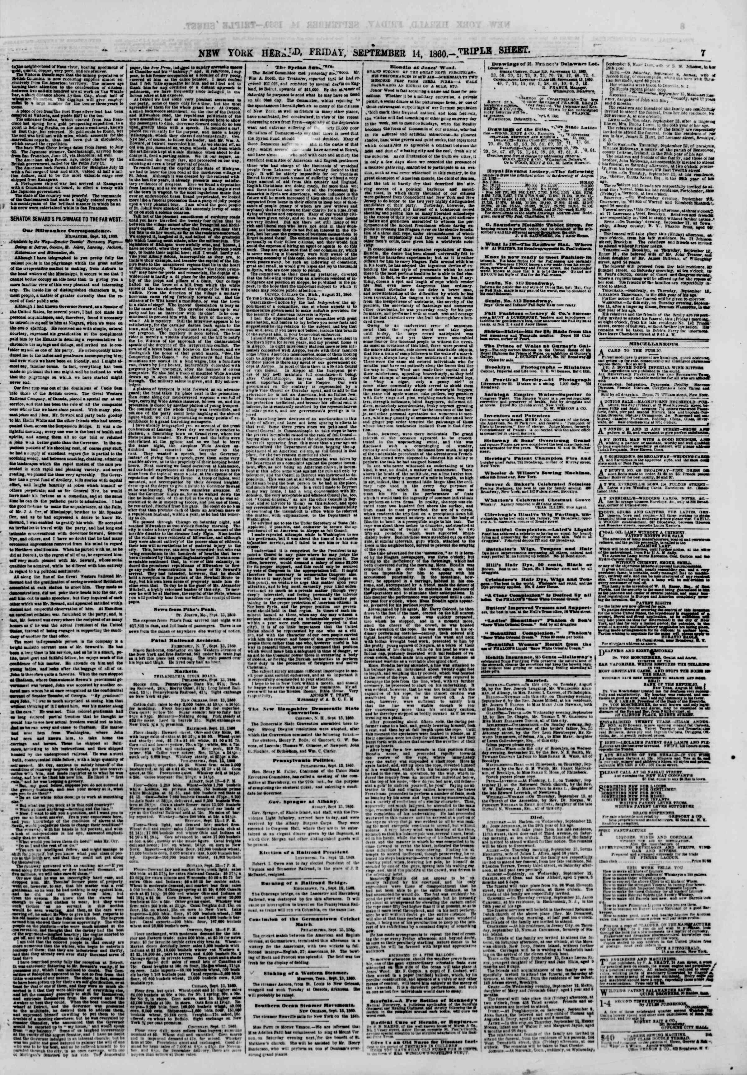Newspaper of The New York Herald dated September 14, 1860 Page 7