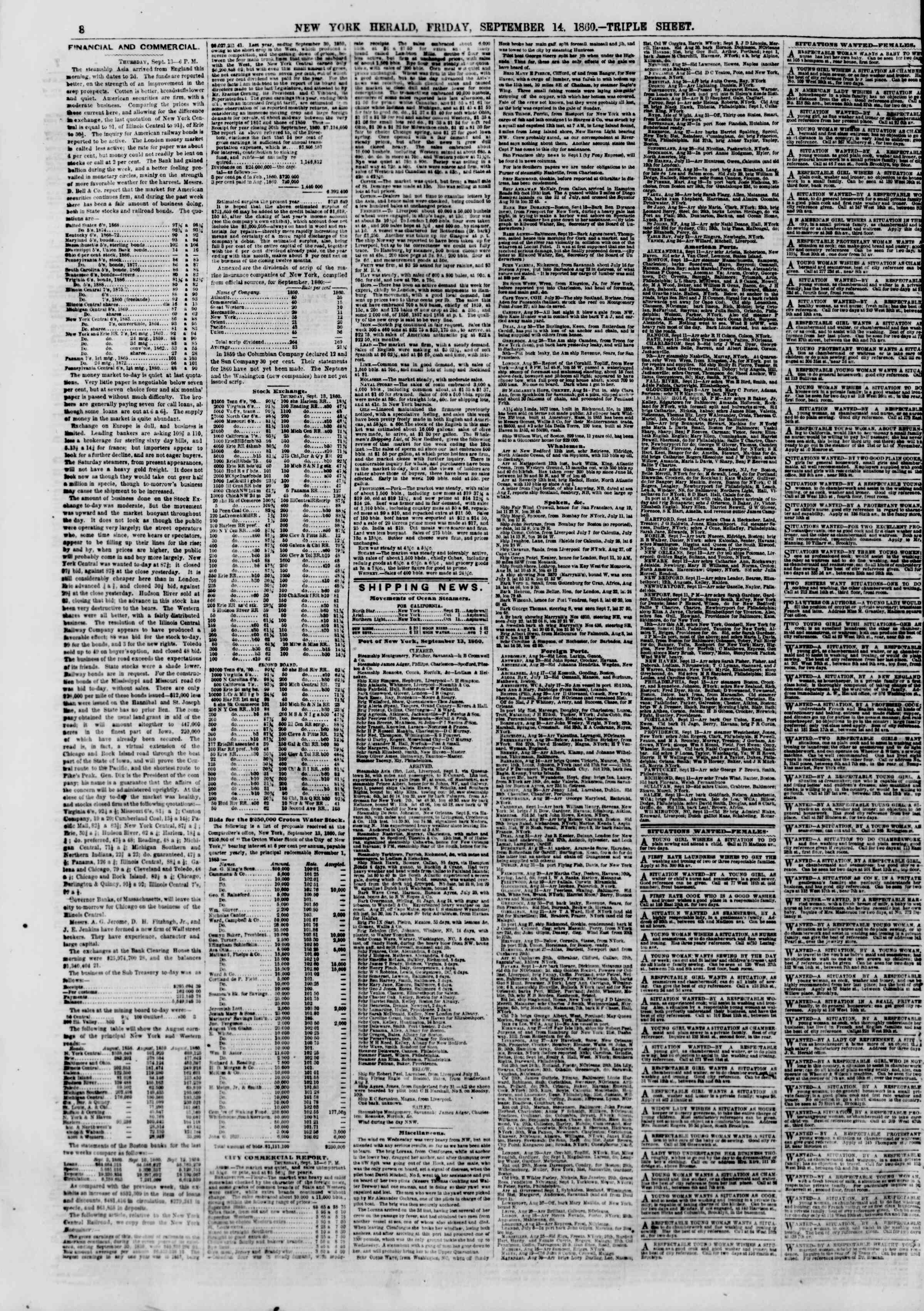 Newspaper of The New York Herald dated September 14, 1860 Page 8