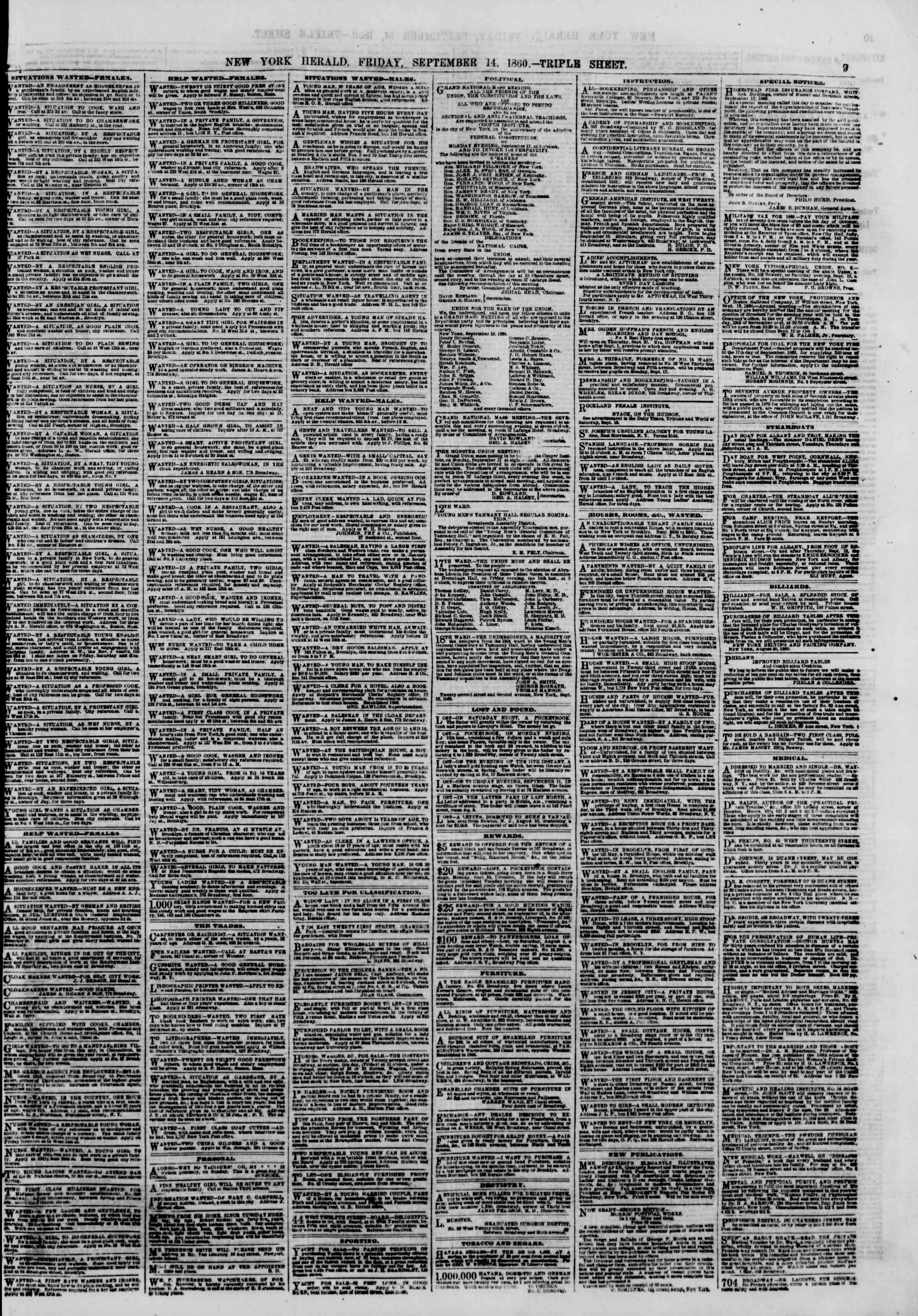 Newspaper of The New York Herald dated September 14, 1860 Page 9