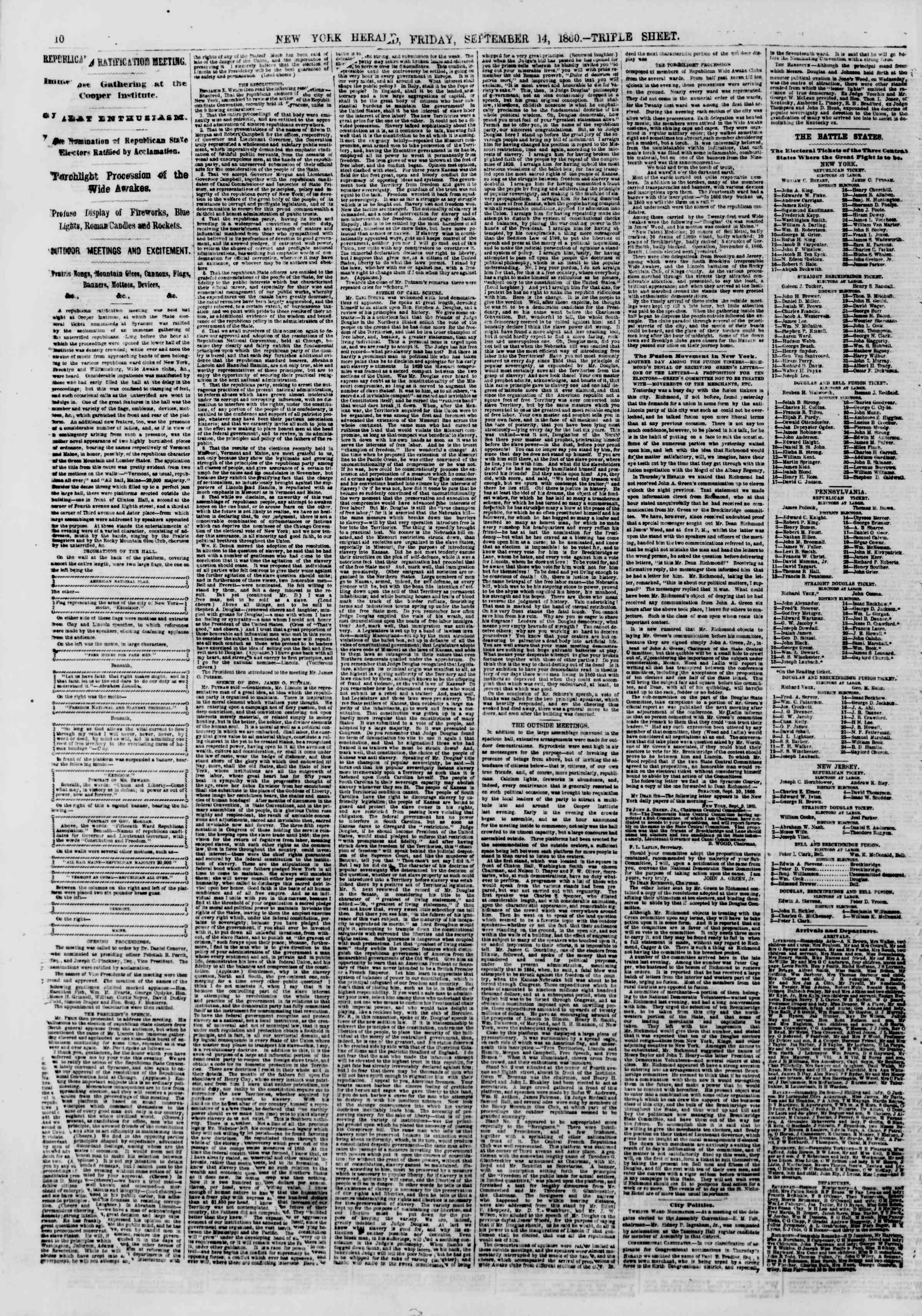Newspaper of The New York Herald dated September 14, 1860 Page 10