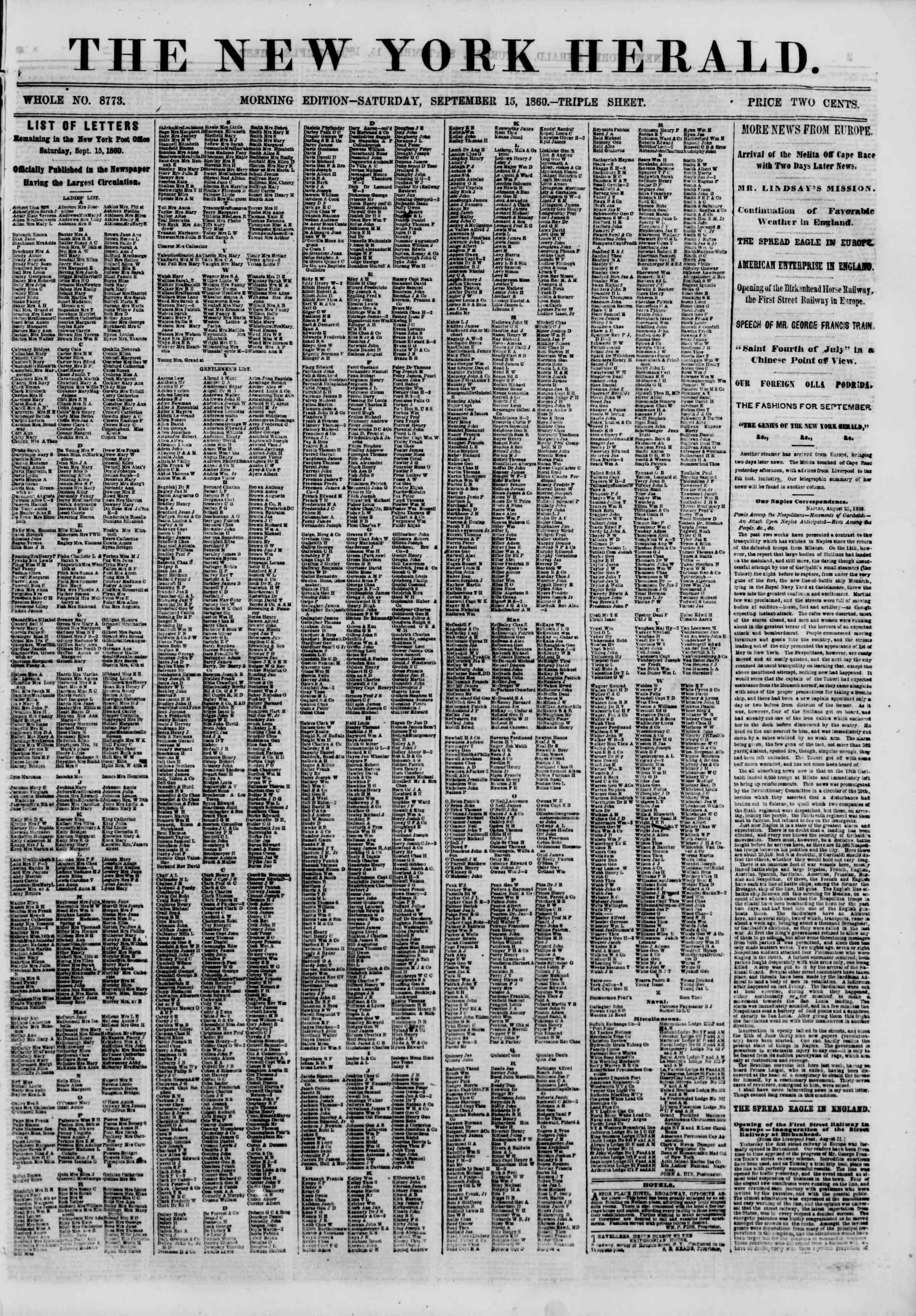 Newspaper of The New York Herald dated September 15, 1860 Page 1