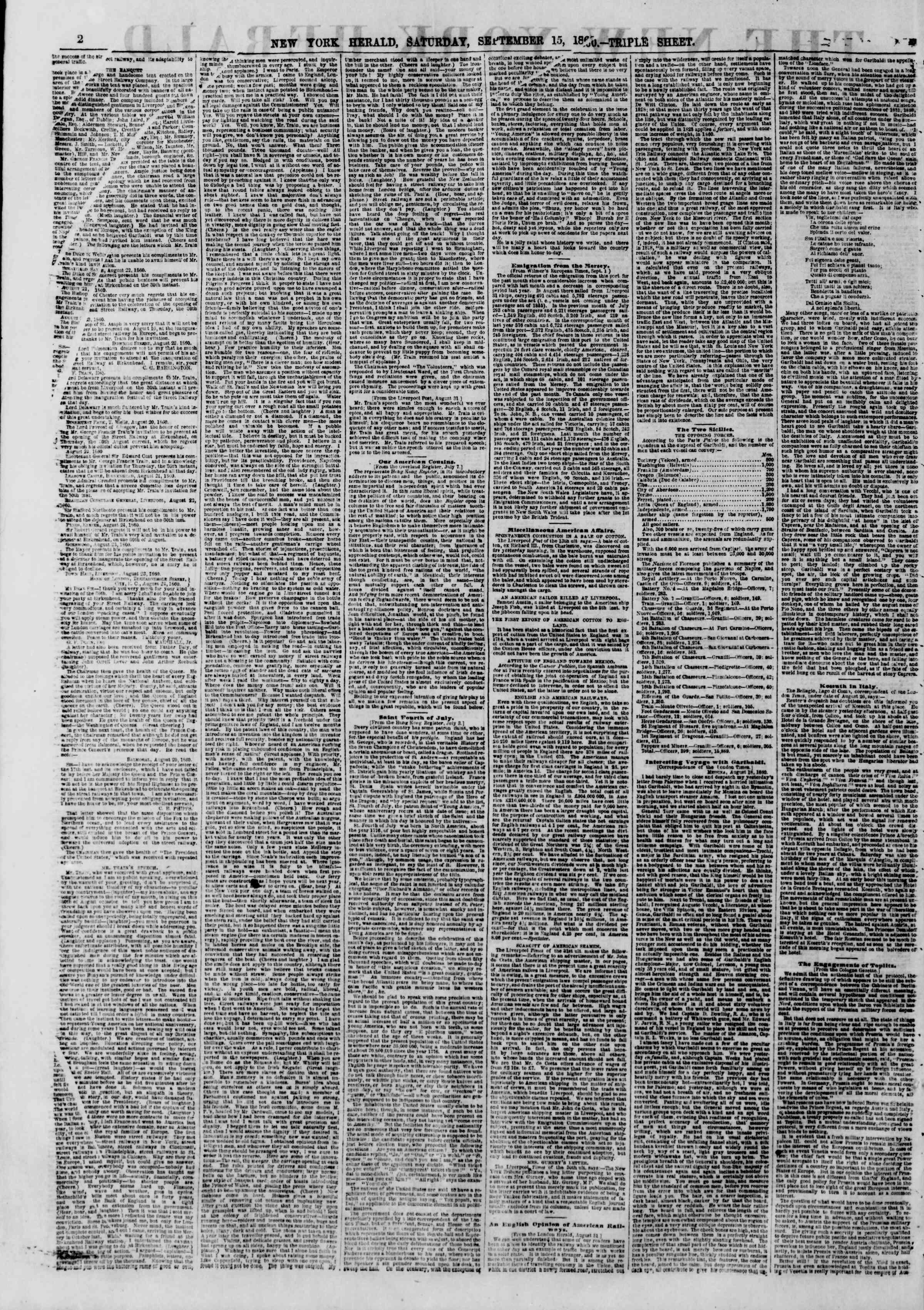 15 Eylül 1860 tarihli The New York Herald Gazetesi Sayfa 2
