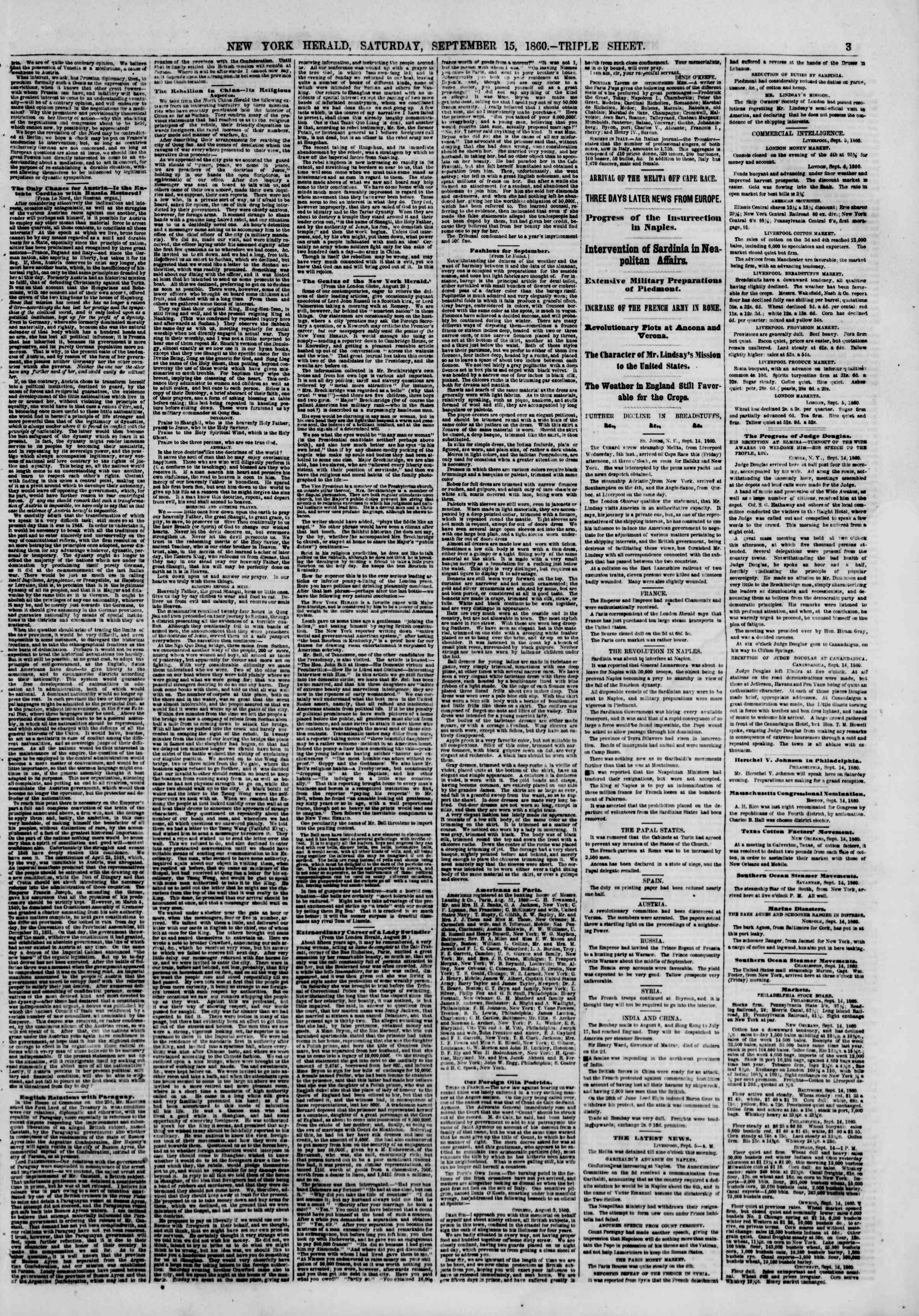 Newspaper of The New York Herald dated September 15, 1860 Page 3