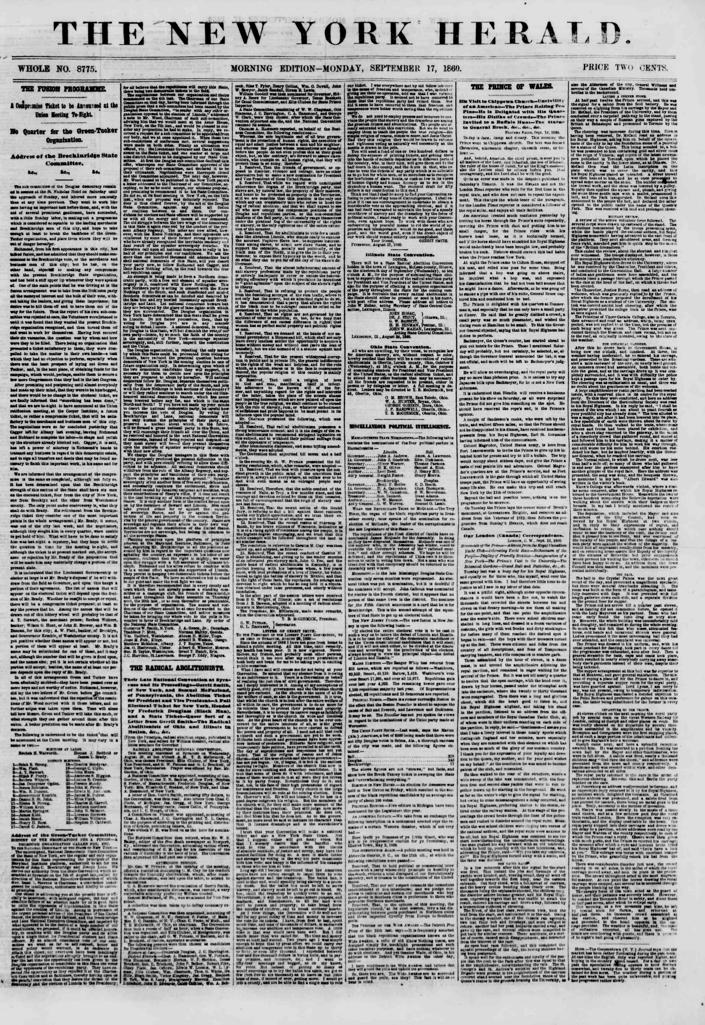 Newspaper of The New York Herald dated September 17, 1860 Page 1