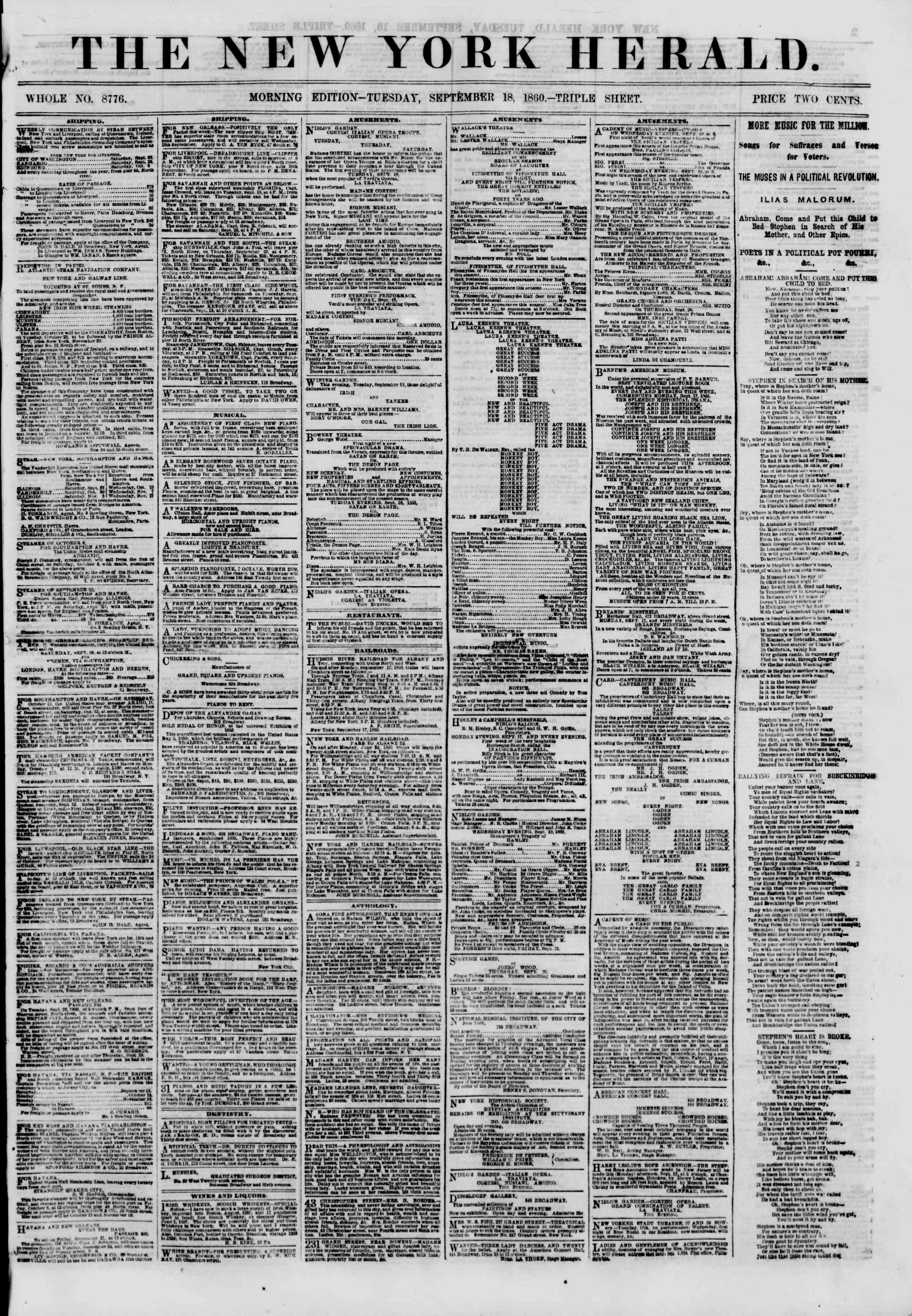 Newspaper of The New York Herald dated 18 Eylül 1860 Page 1