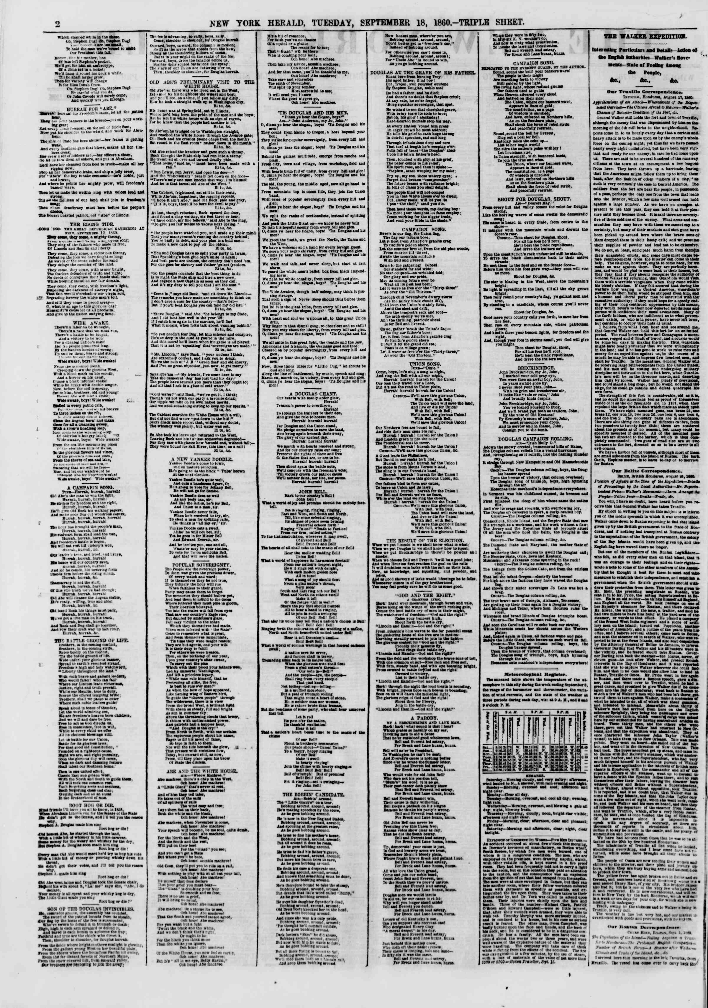 Newspaper of The New York Herald dated September 18, 1860 Page 2