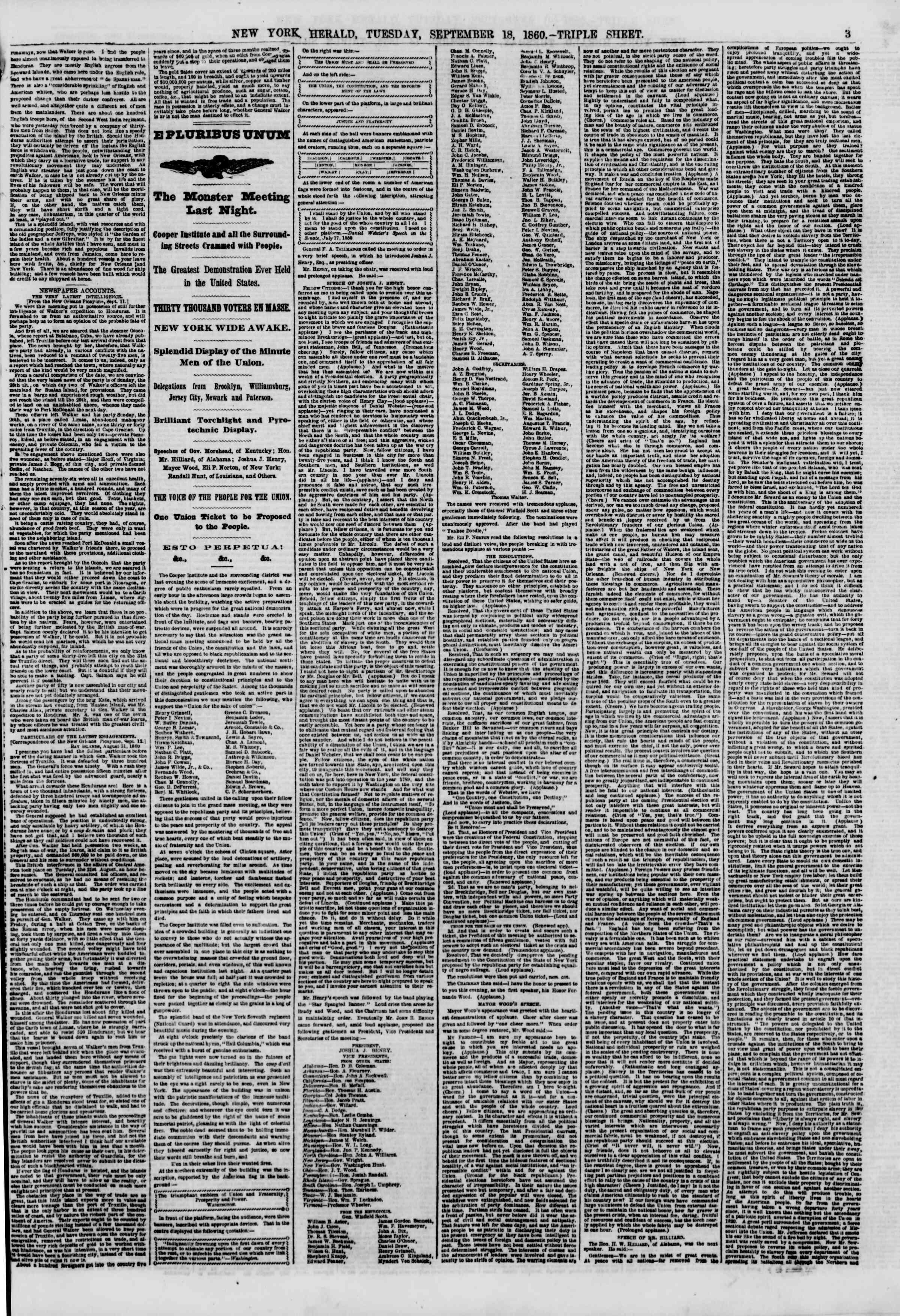 September 18, 1860 tarihli The New York Herald Gazetesi Sayfa 3