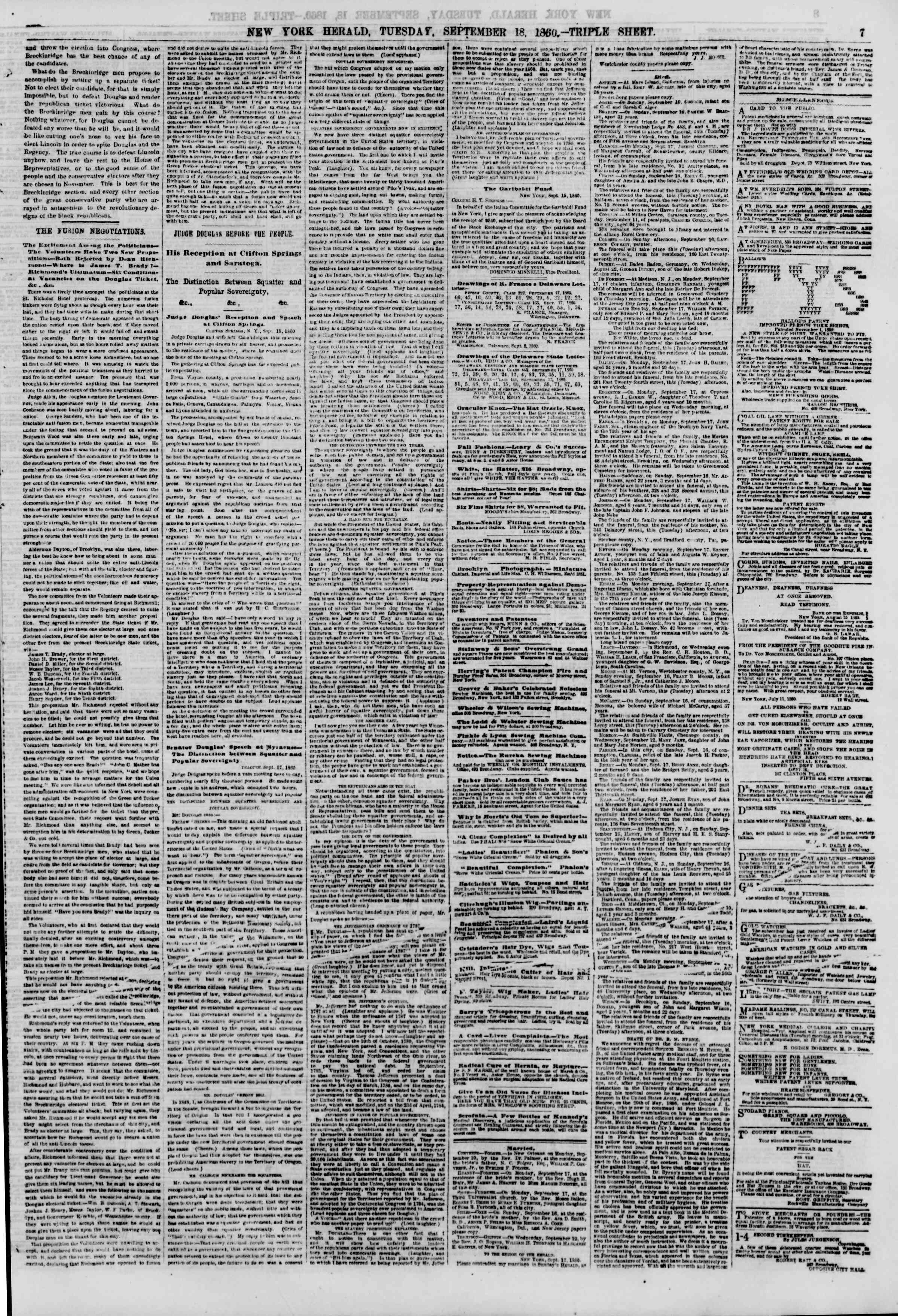 Newspaper of The New York Herald dated September 18, 1860 Page 7