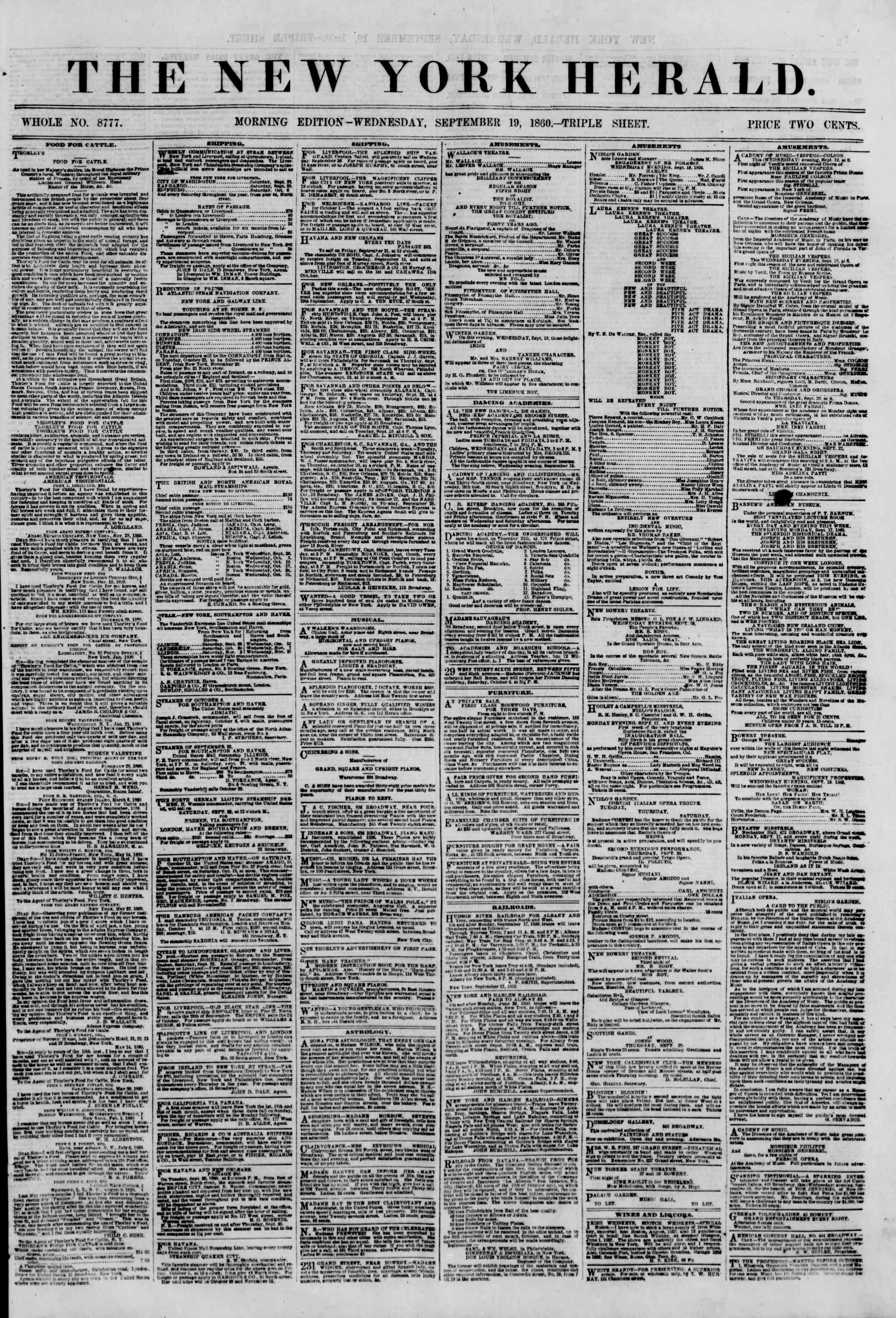Newspaper of The New York Herald dated September 19, 1860 Page 1