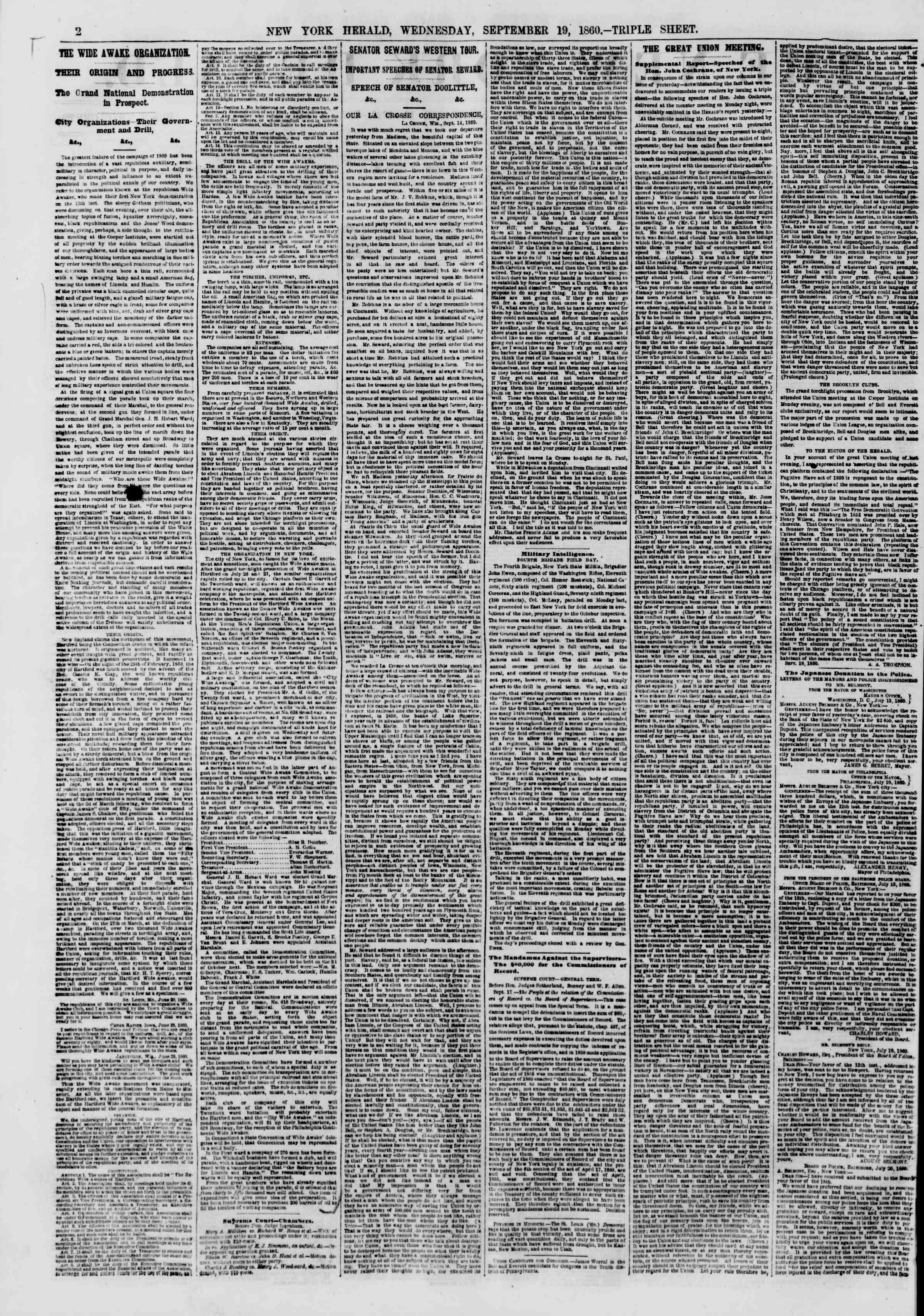 Newspaper of The New York Herald dated September 19, 1860 Page 2