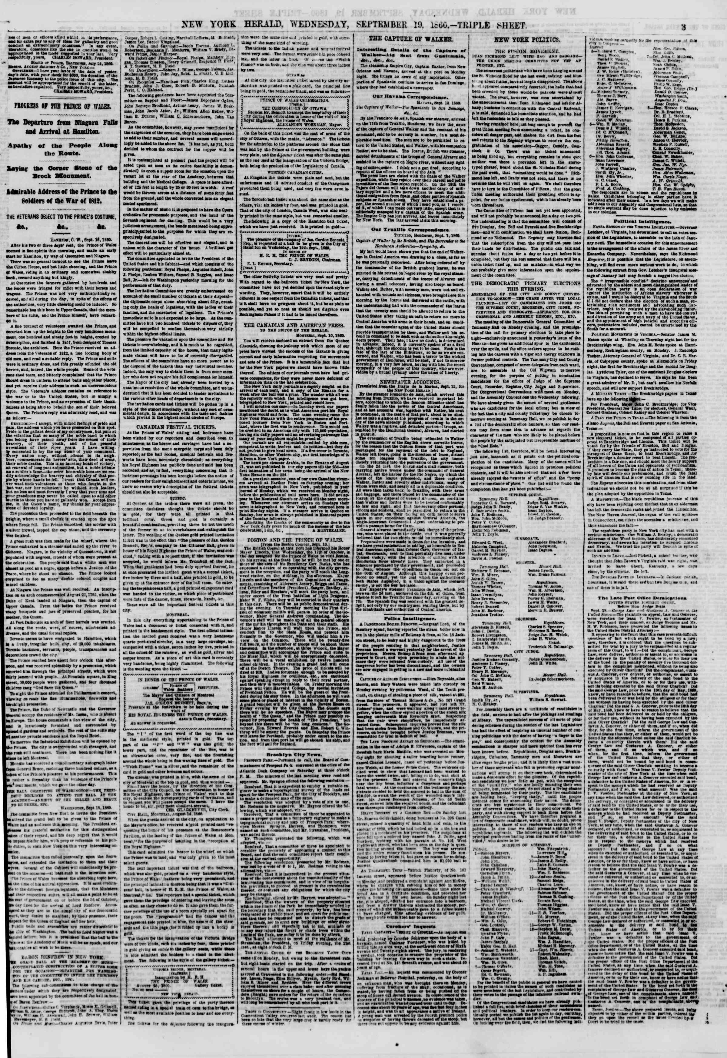 Newspaper of The New York Herald dated September 19, 1860 Page 3