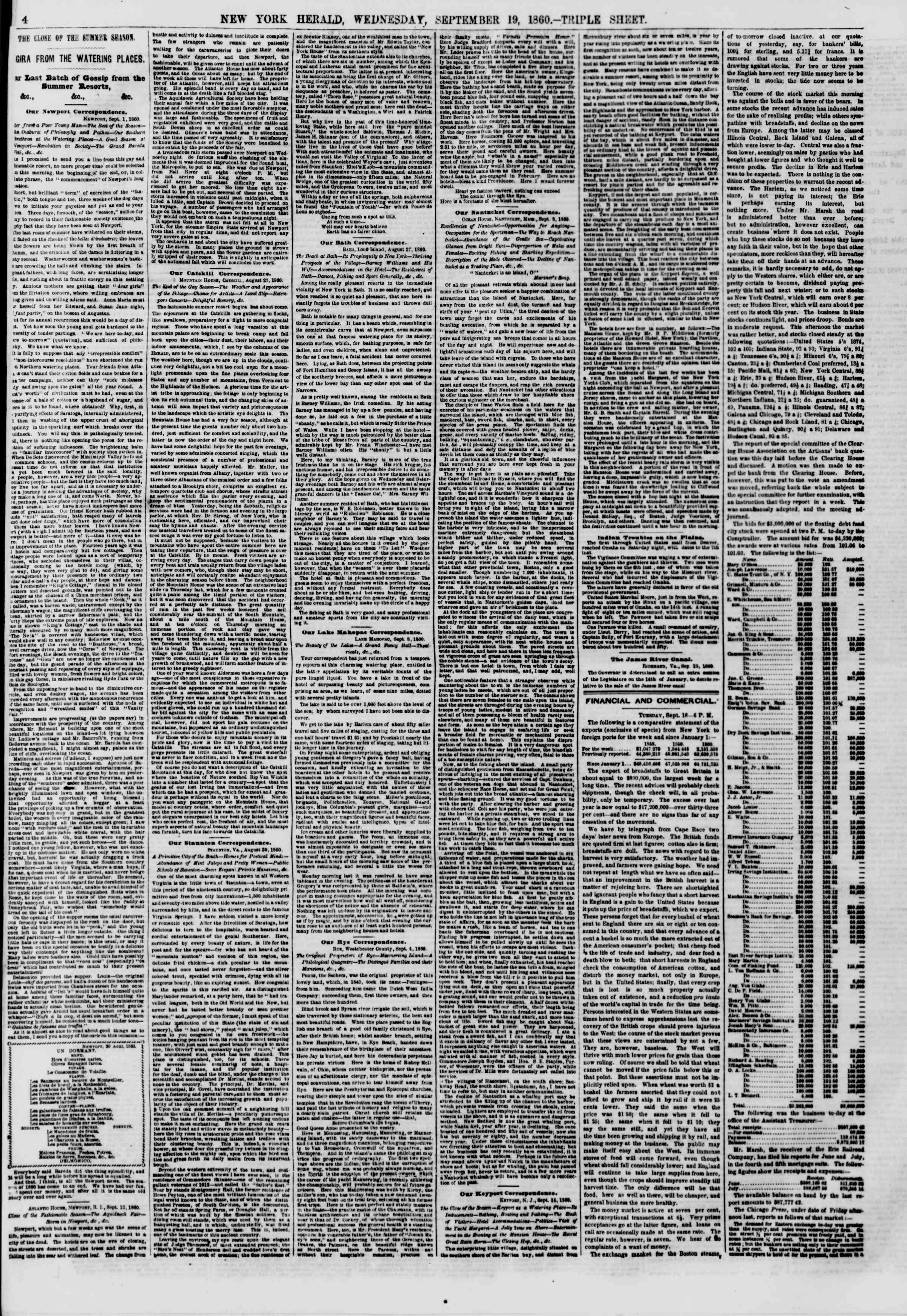 Newspaper of The New York Herald dated September 19, 1860 Page 4