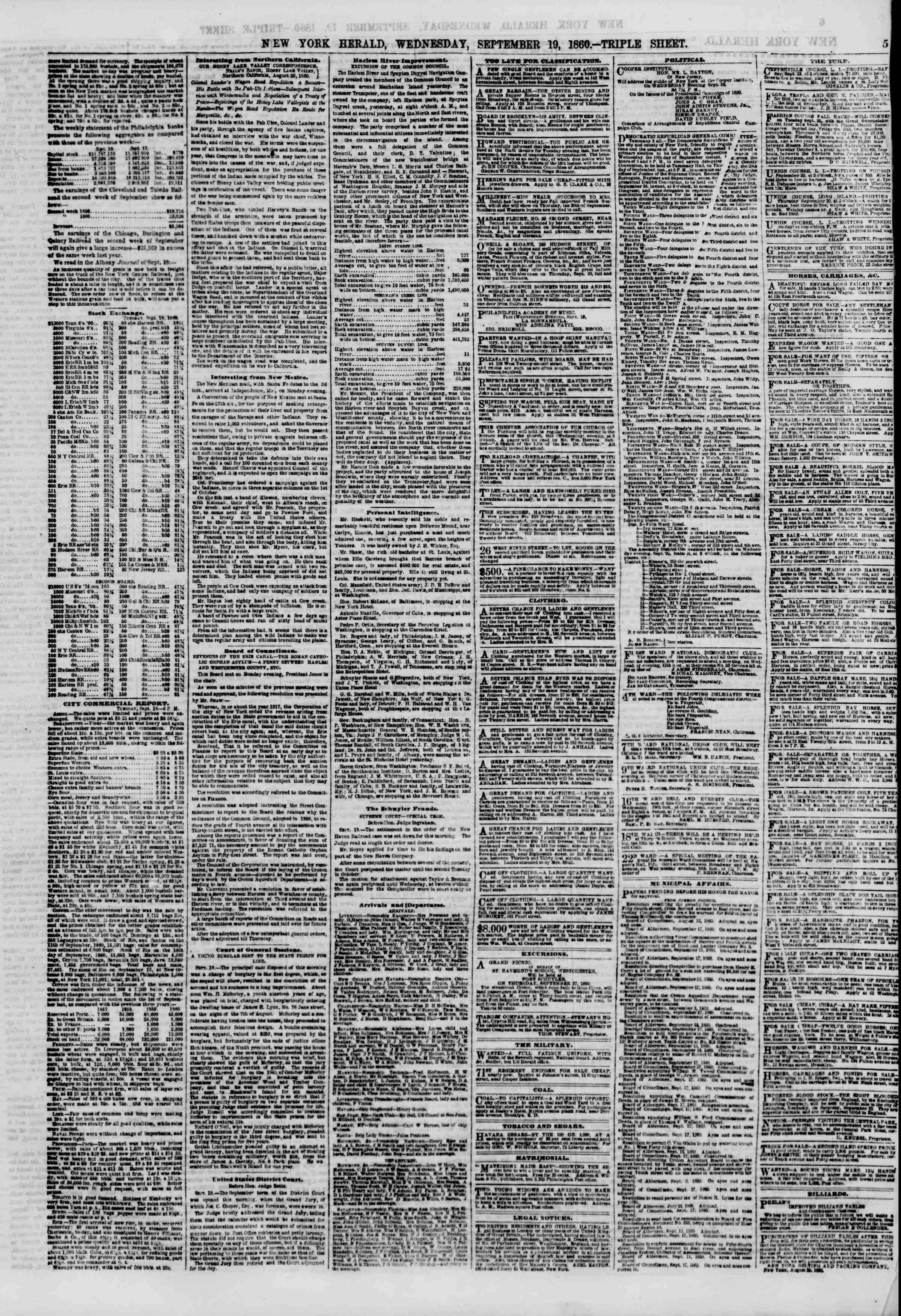 Newspaper of The New York Herald dated September 19, 1860 Page 5