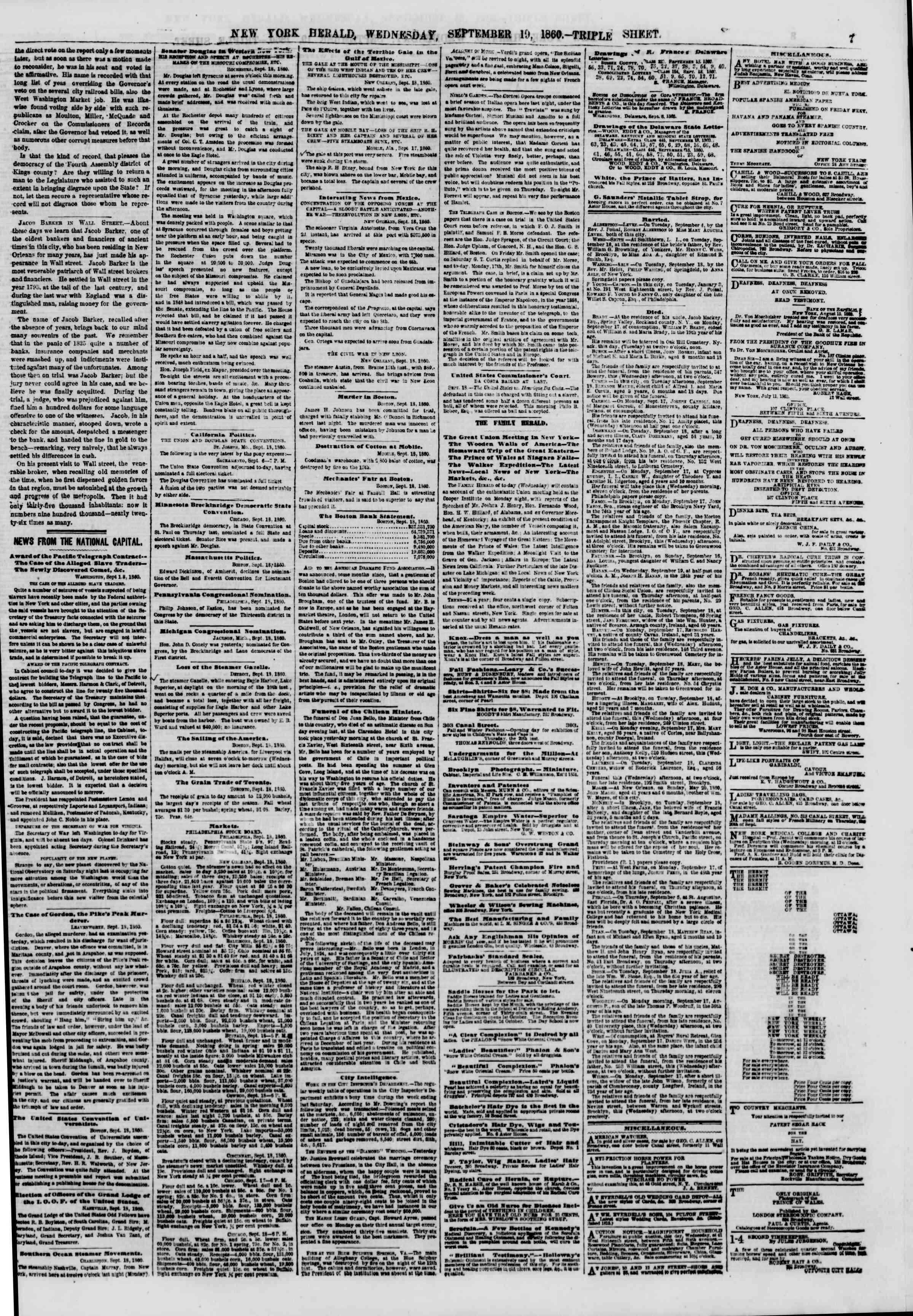 Newspaper of The New York Herald dated September 19, 1860 Page 7