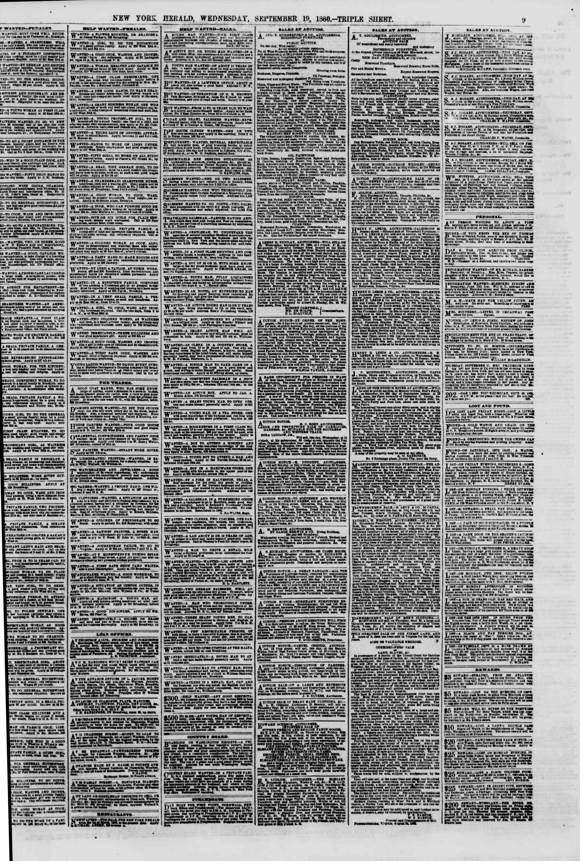 Newspaper of The New York Herald dated September 19, 1860 Page 9